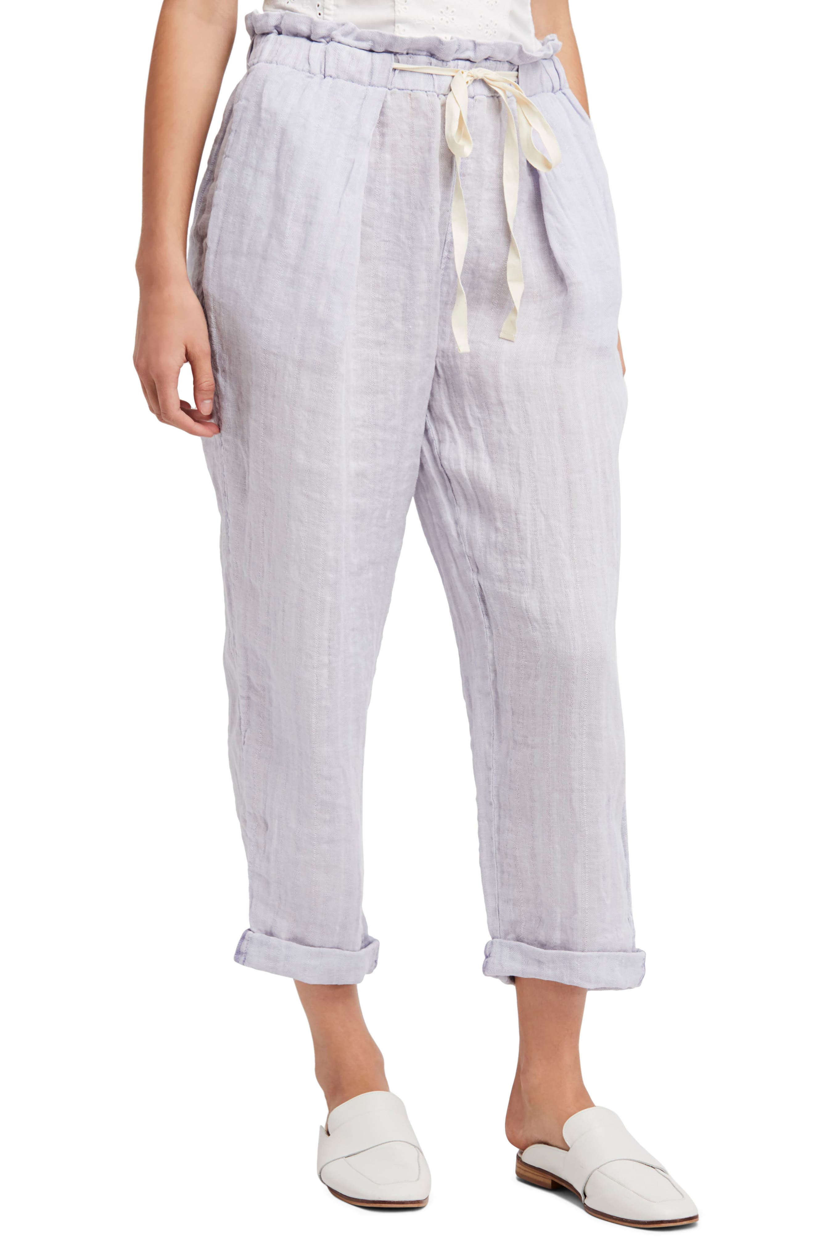 Only over You Linen Trousers,                             Main thumbnail 1, color,                             Pearl
