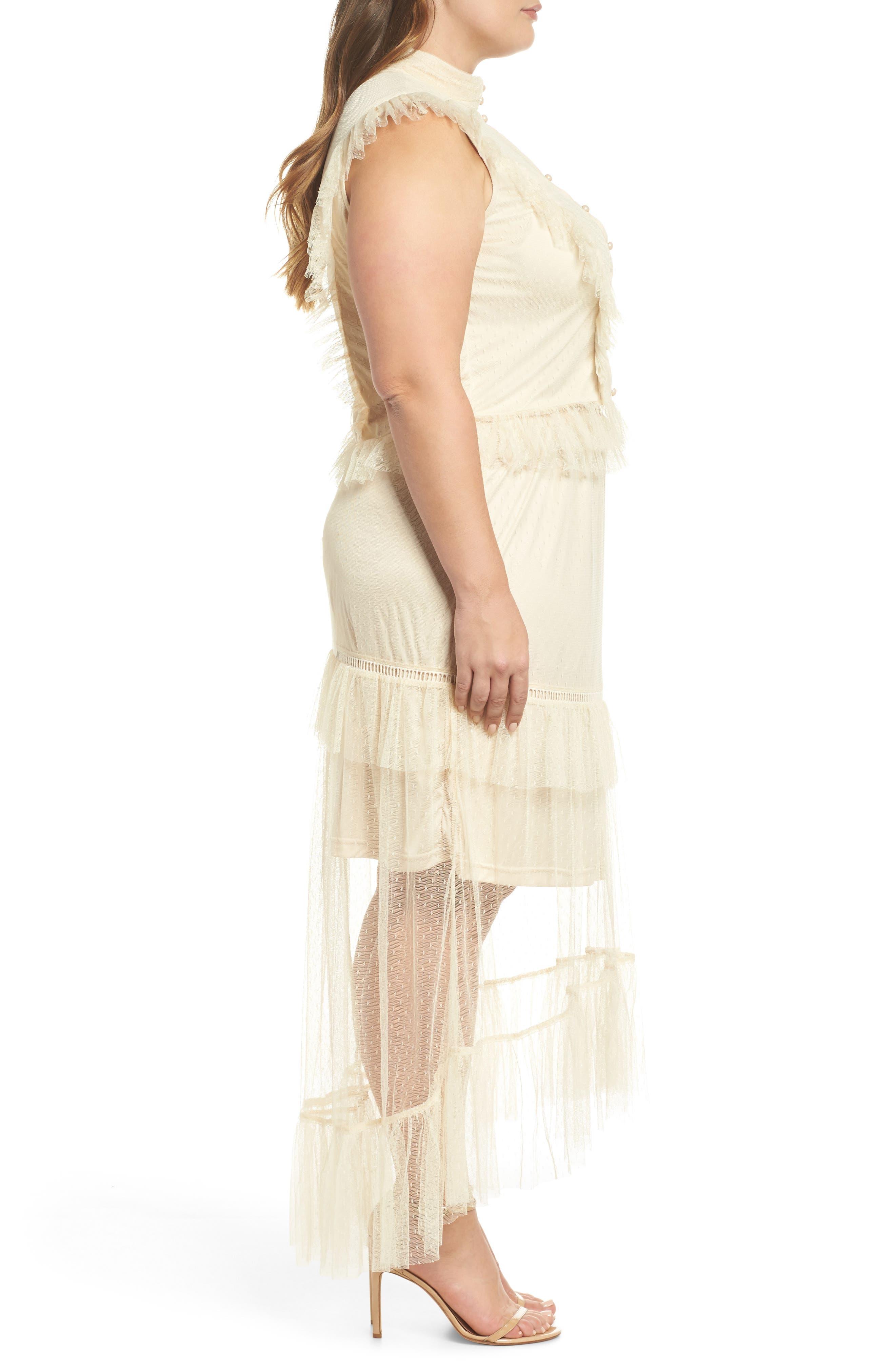 Ruffle Sheer Hem Maxi Dress,                             Alternate thumbnail 3, color,                             Cream