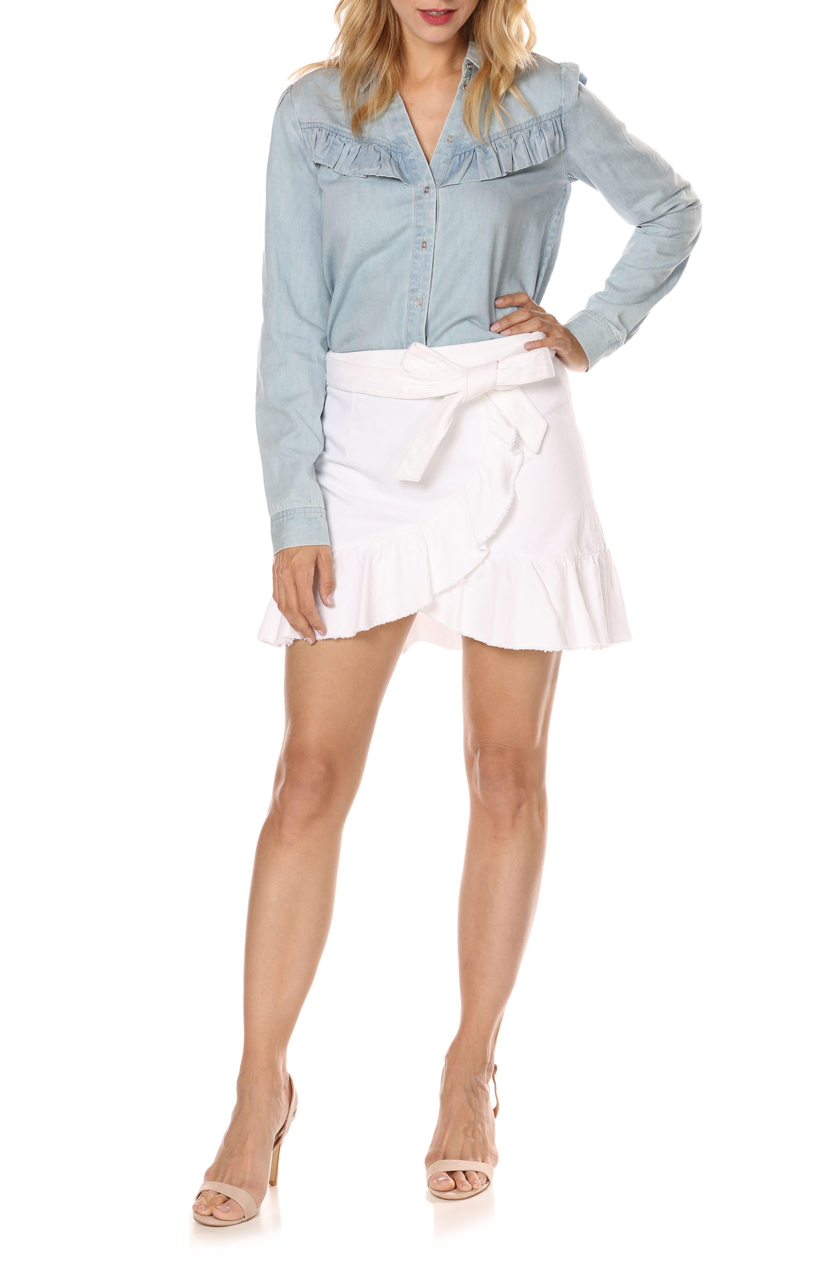 Nivelle Ruffle Denim Skirt,                             Alternate thumbnail 3, color,                             Crisp White