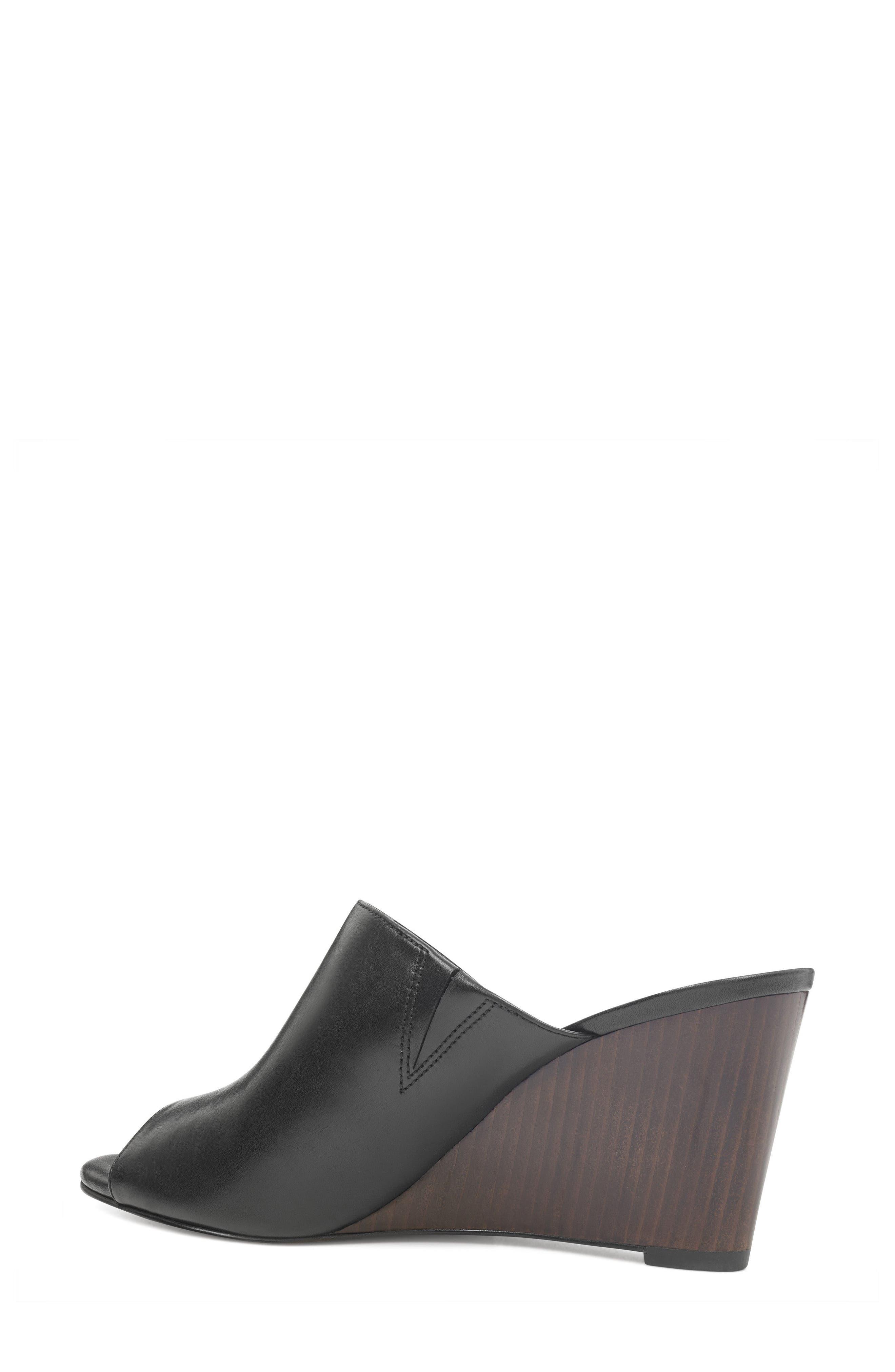 Janissah Wedge,                             Alternate thumbnail 2, color,                             Black Leather