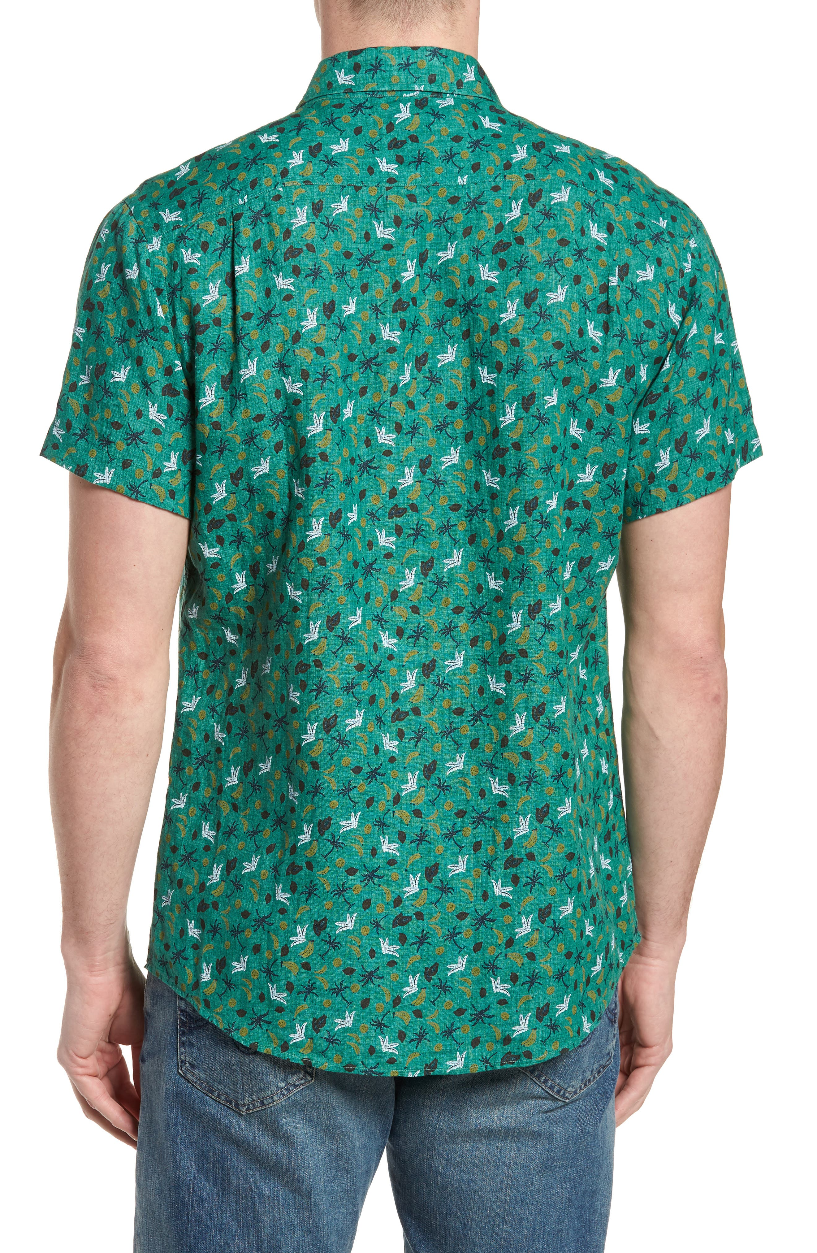 Canoe Creek Tropical Print Linen Sport Shirt,                             Alternate thumbnail 3, color,                             Bamboo