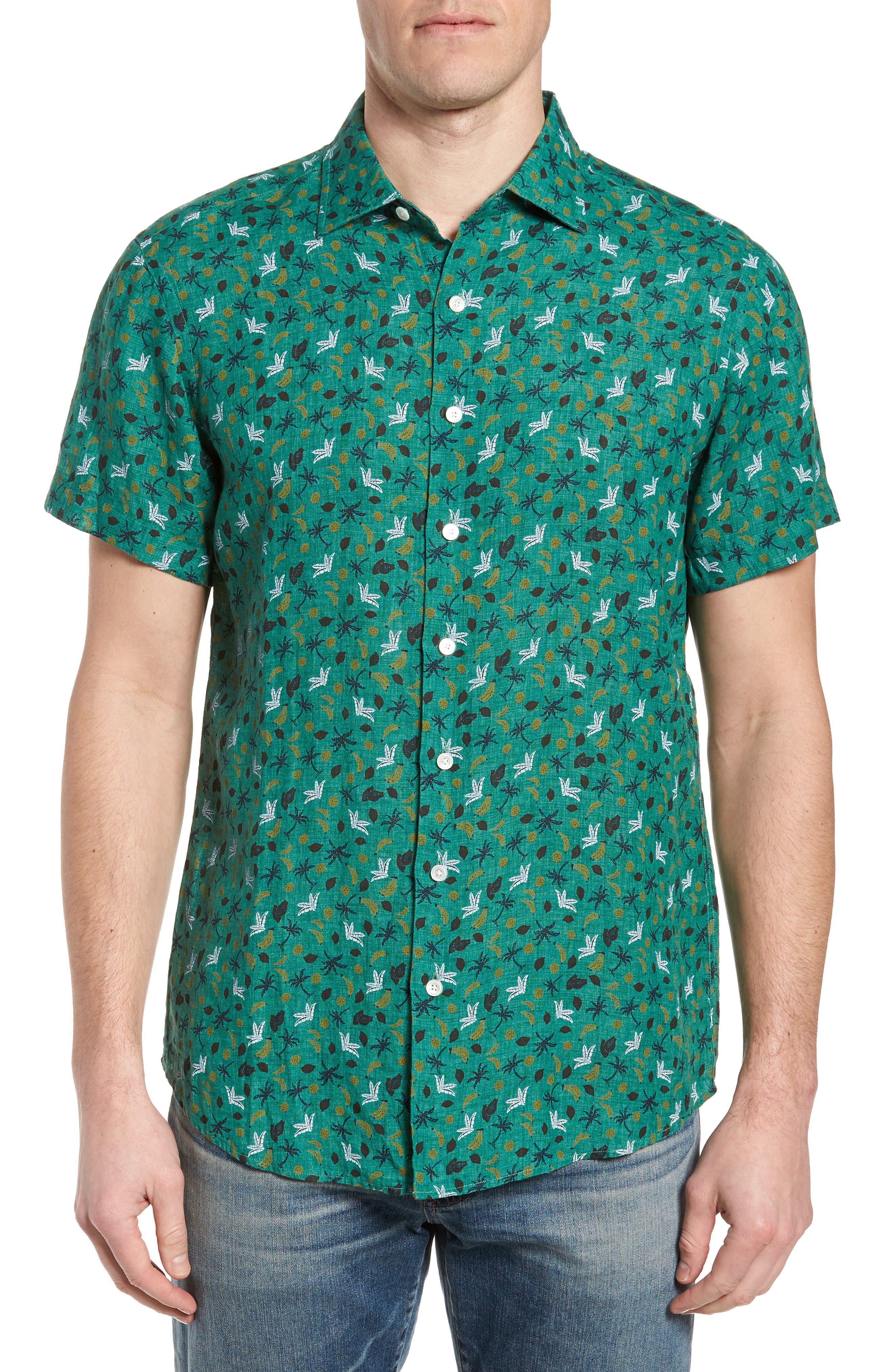 Canoe Creek Tropical Print Linen Sport Shirt,                         Main,                         color, Bamboo