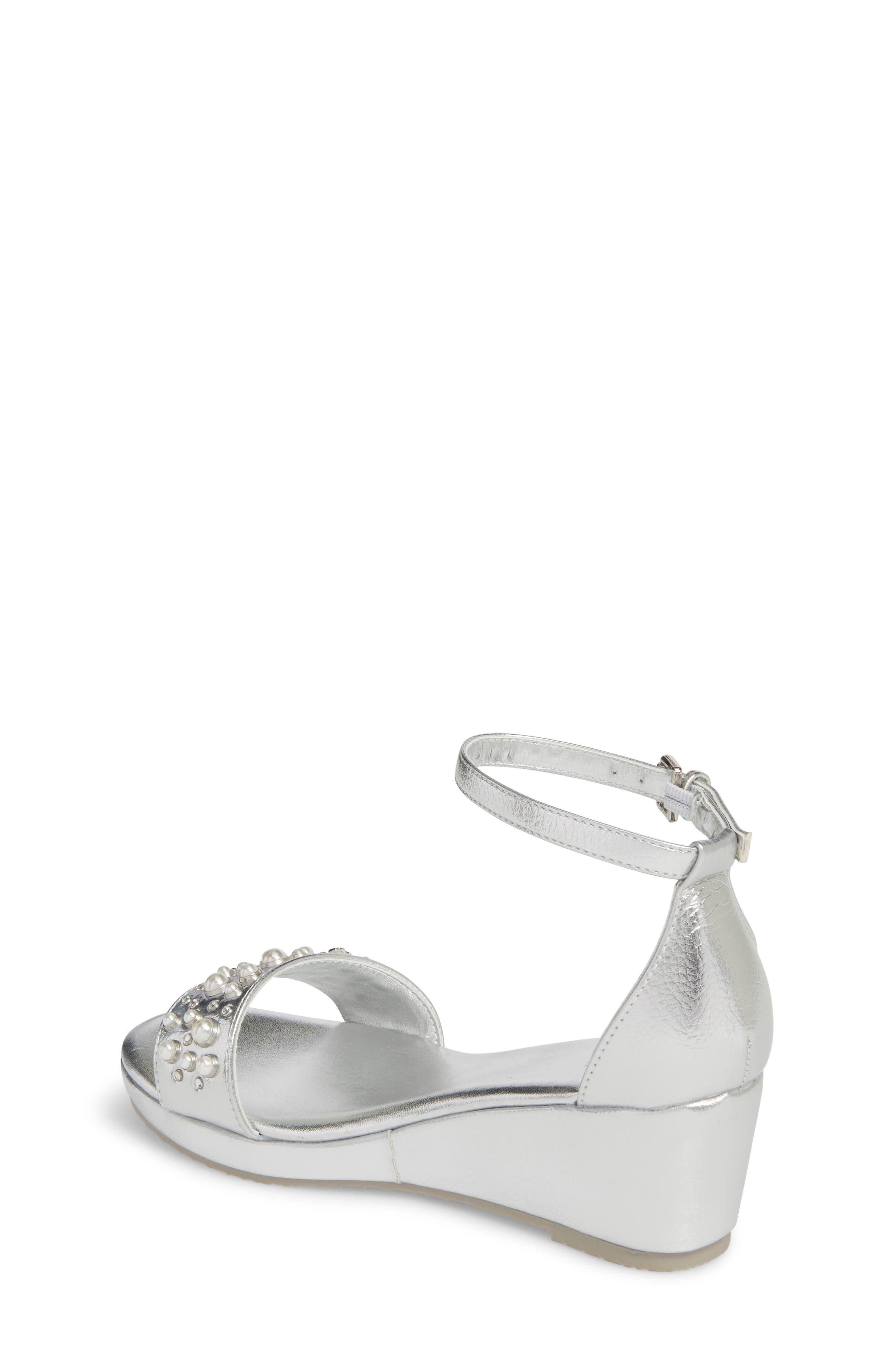 Cate Embellished Wedge Sandal,                             Alternate thumbnail 2, color,                             Silver