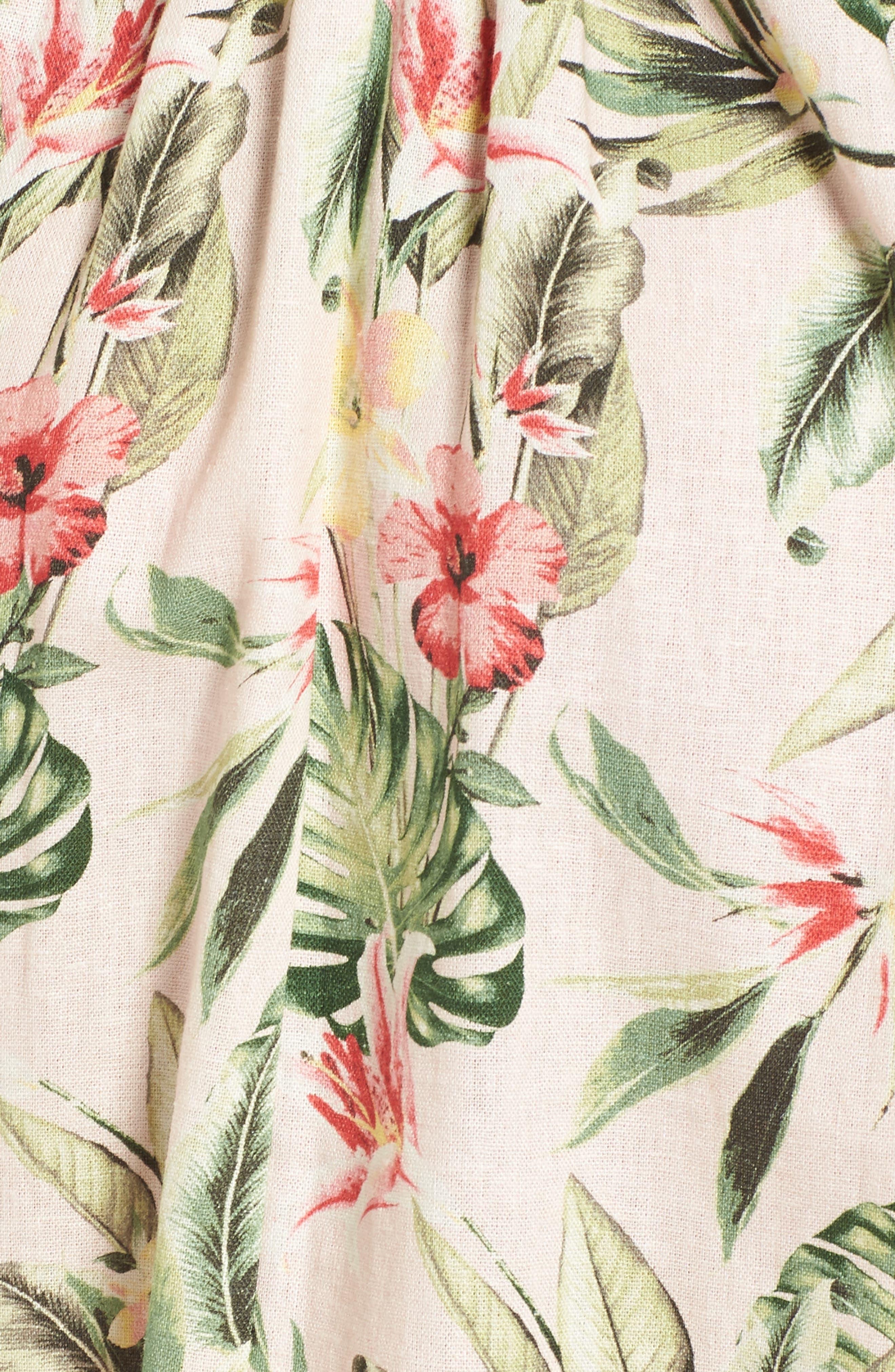 Tropical Lace Back Minidress,                             Alternate thumbnail 5, color,                             Blush/ Green