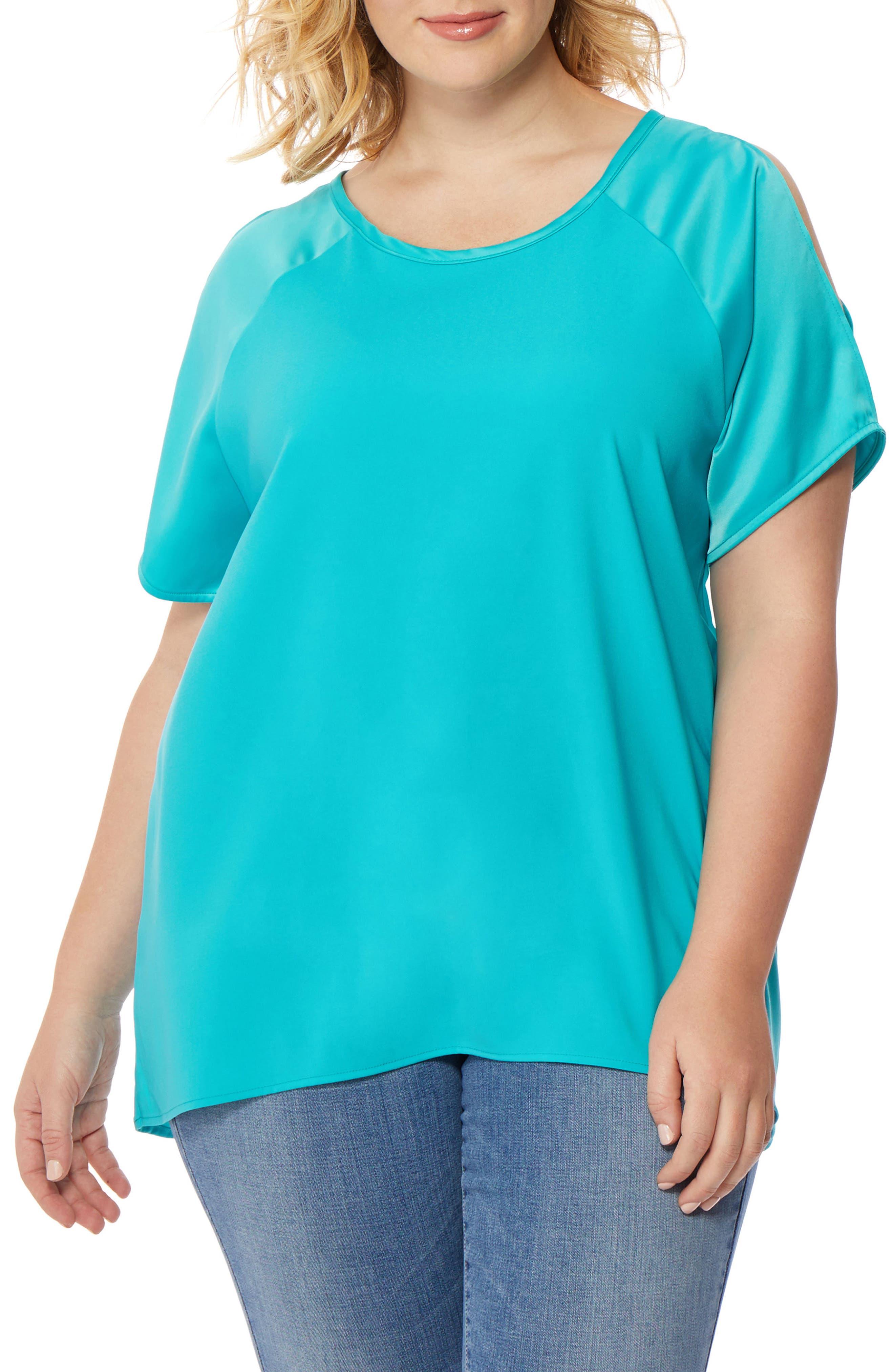 Split Raglan Sleeve Top,                         Main,                         color, Viridian Green