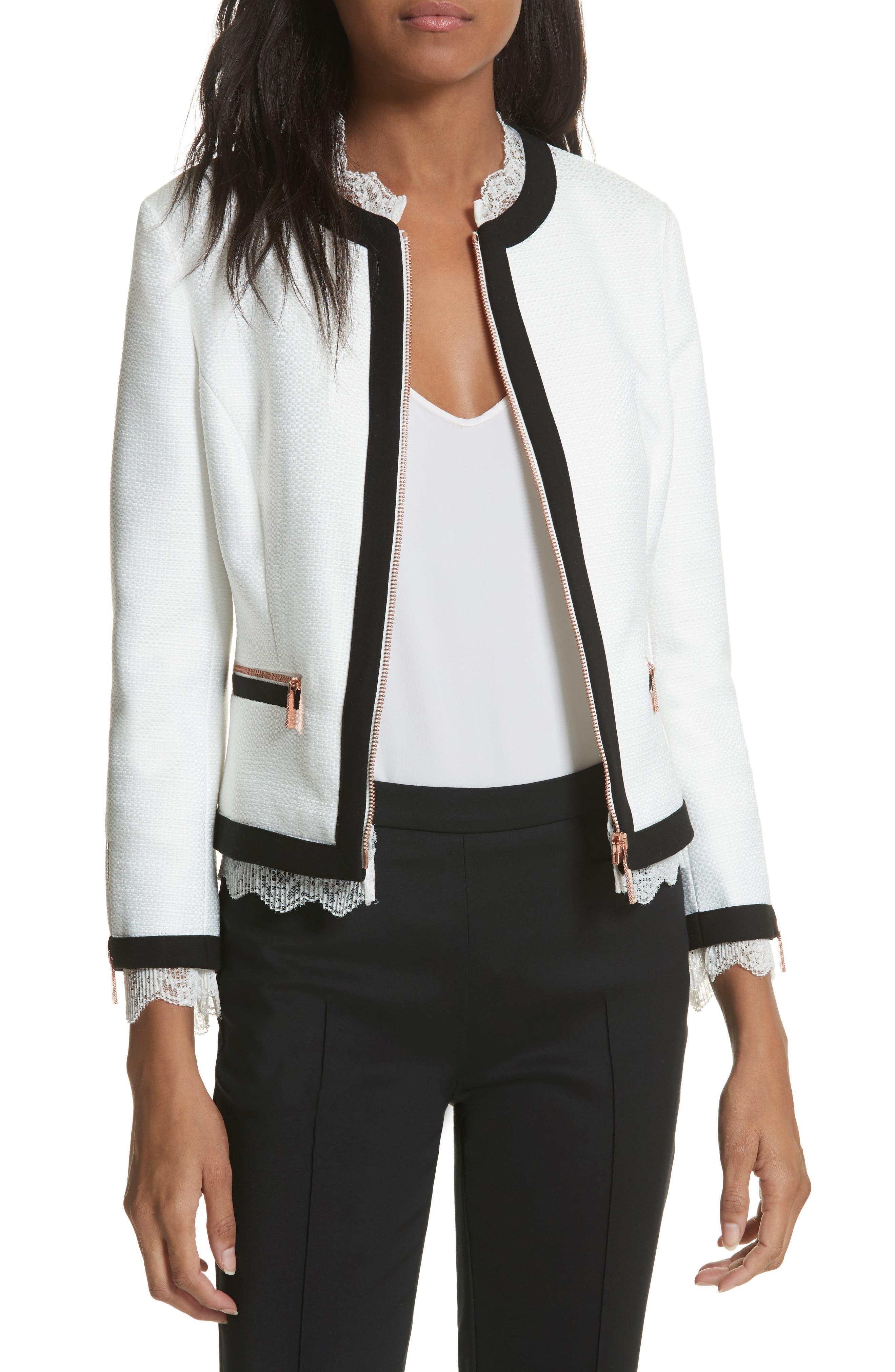 Lace Trim Crop Jacket,                             Main thumbnail 1, color,                             White