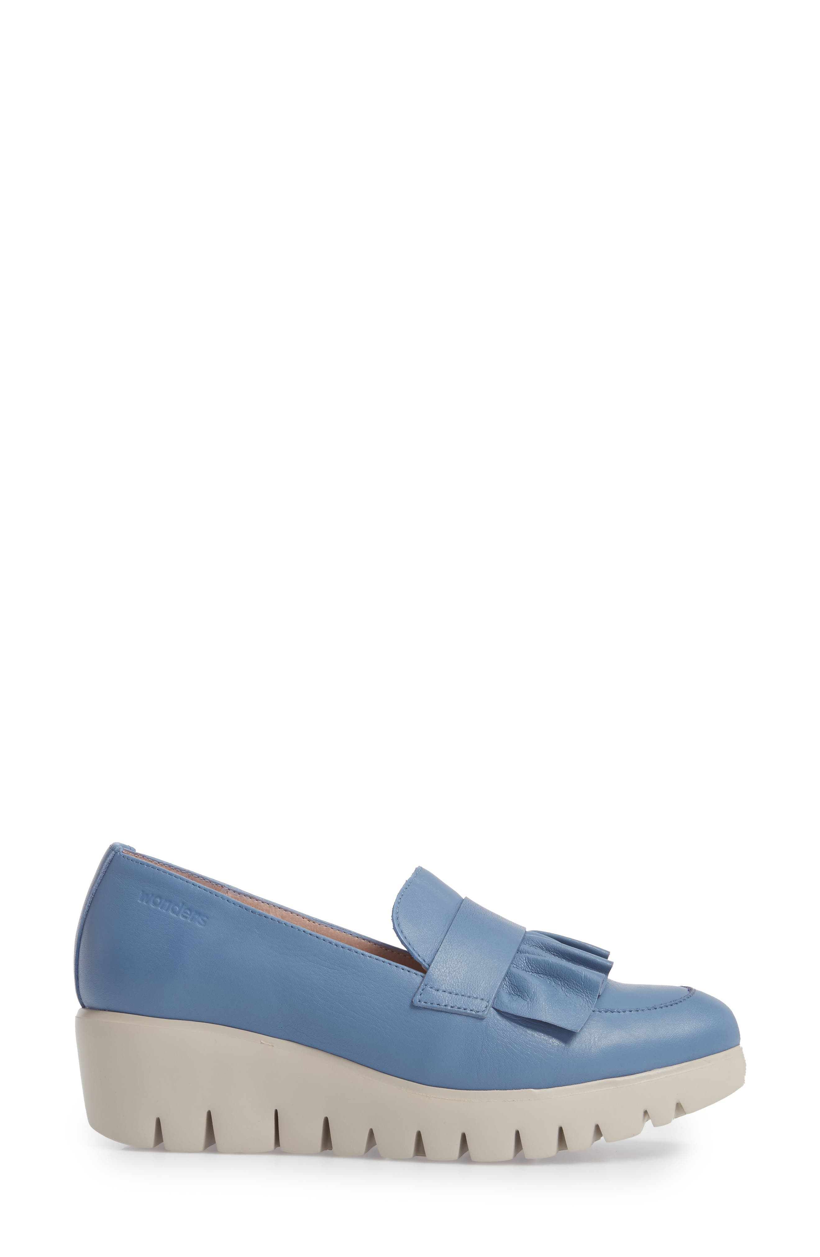 Loafer Wedge,                             Alternate thumbnail 3, color,                             Jeans Leather