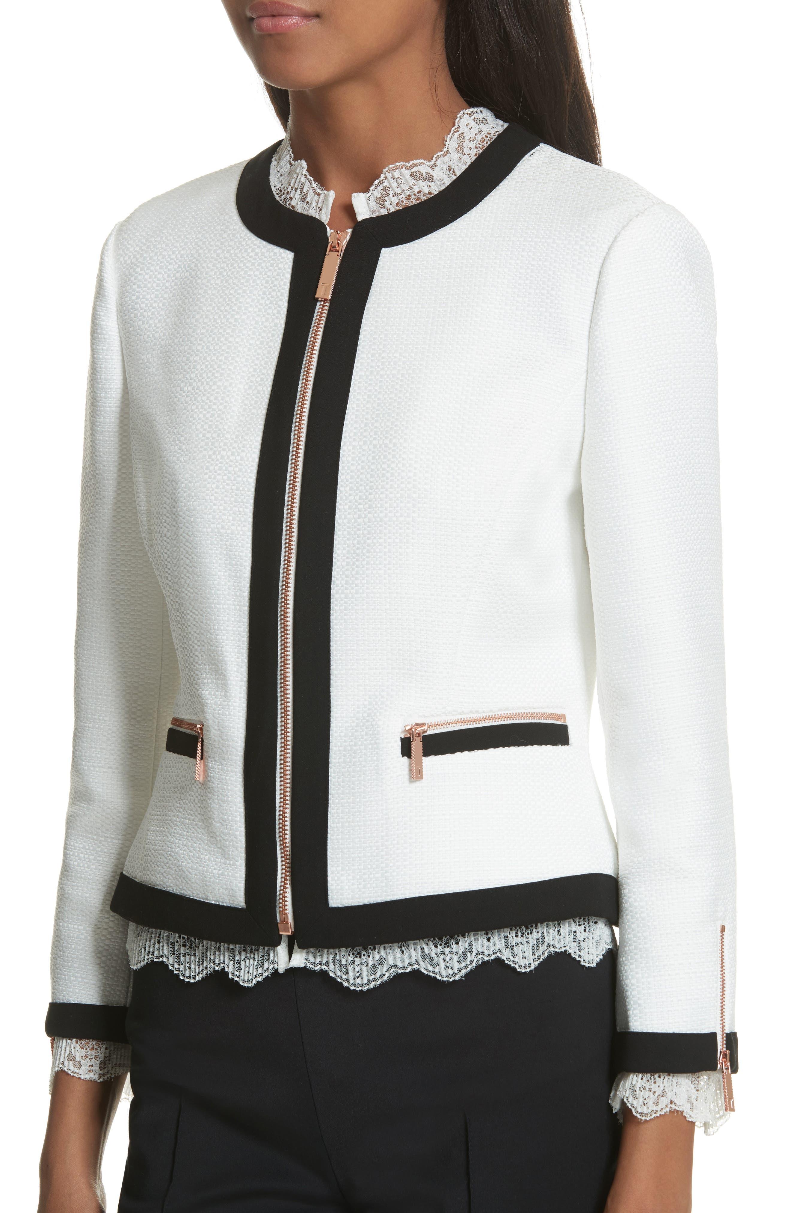 Lace Trim Crop Jacket,                             Alternate thumbnail 4, color,                             White