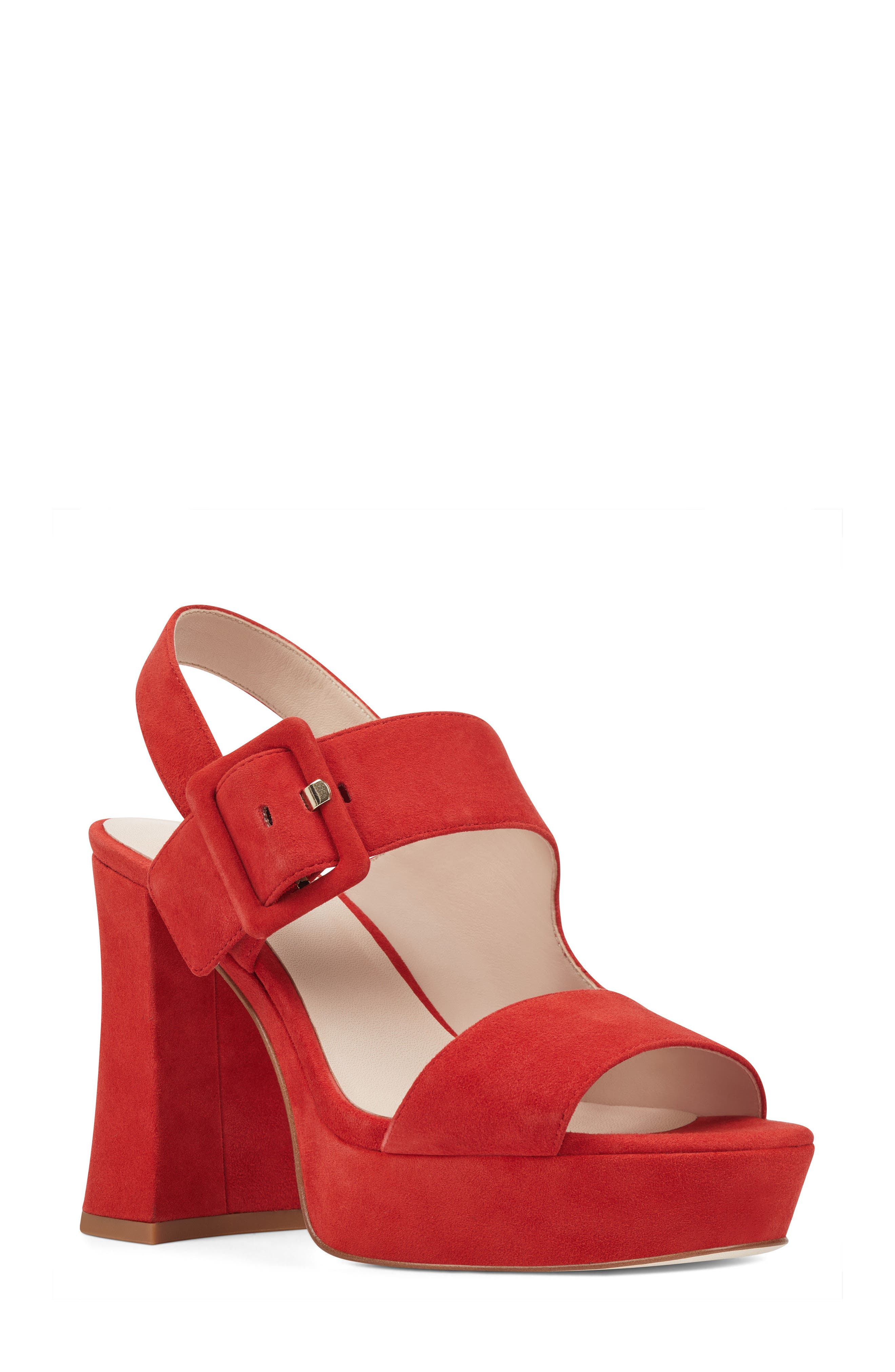 Lexine - 40th Anniversary Capsule Collection Platform Sandal,                             Main thumbnail 1, color,                             Red Leather