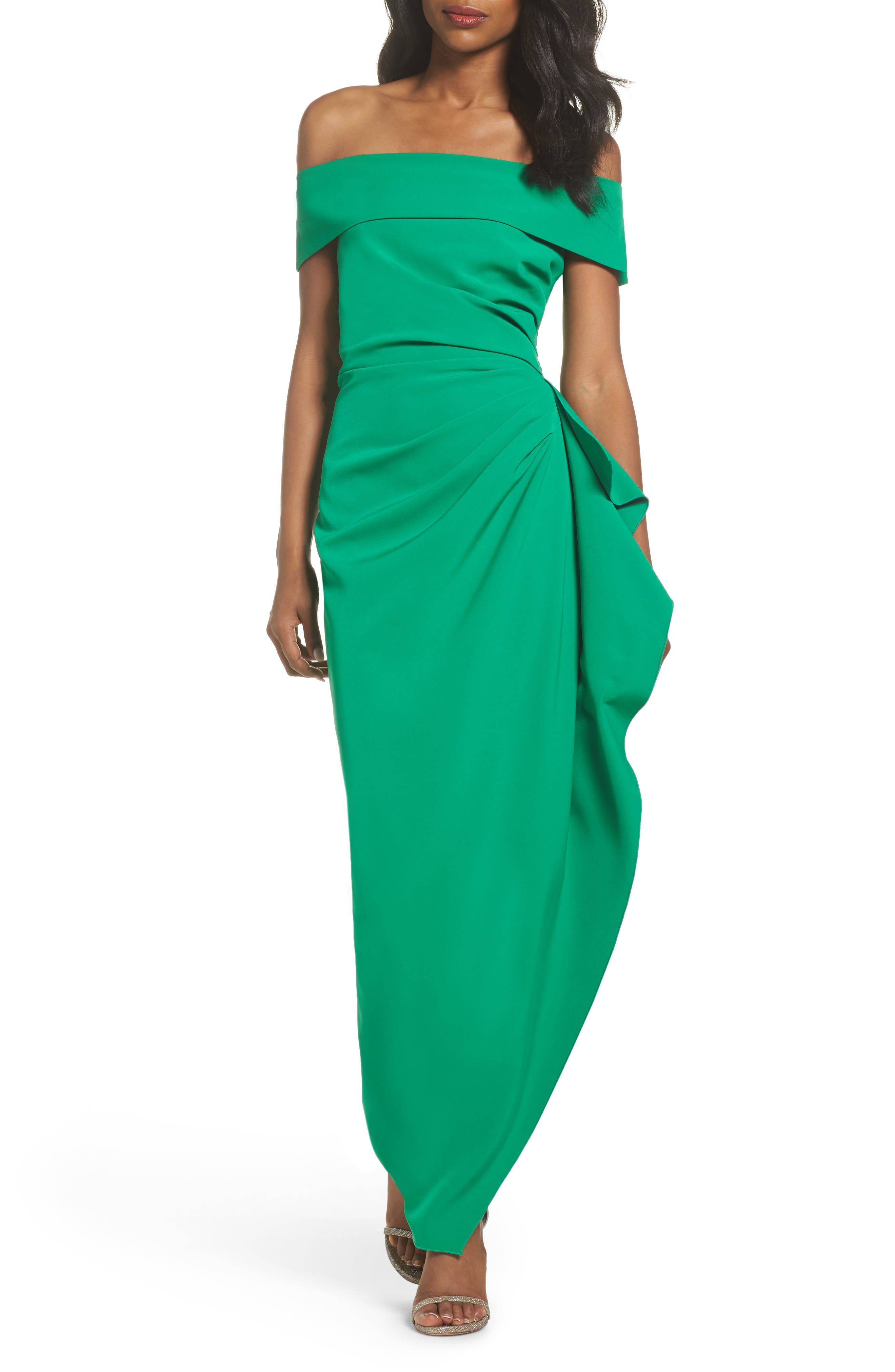 Off the Shoulder Crepe Gown,                             Main thumbnail 1, color,                             Green