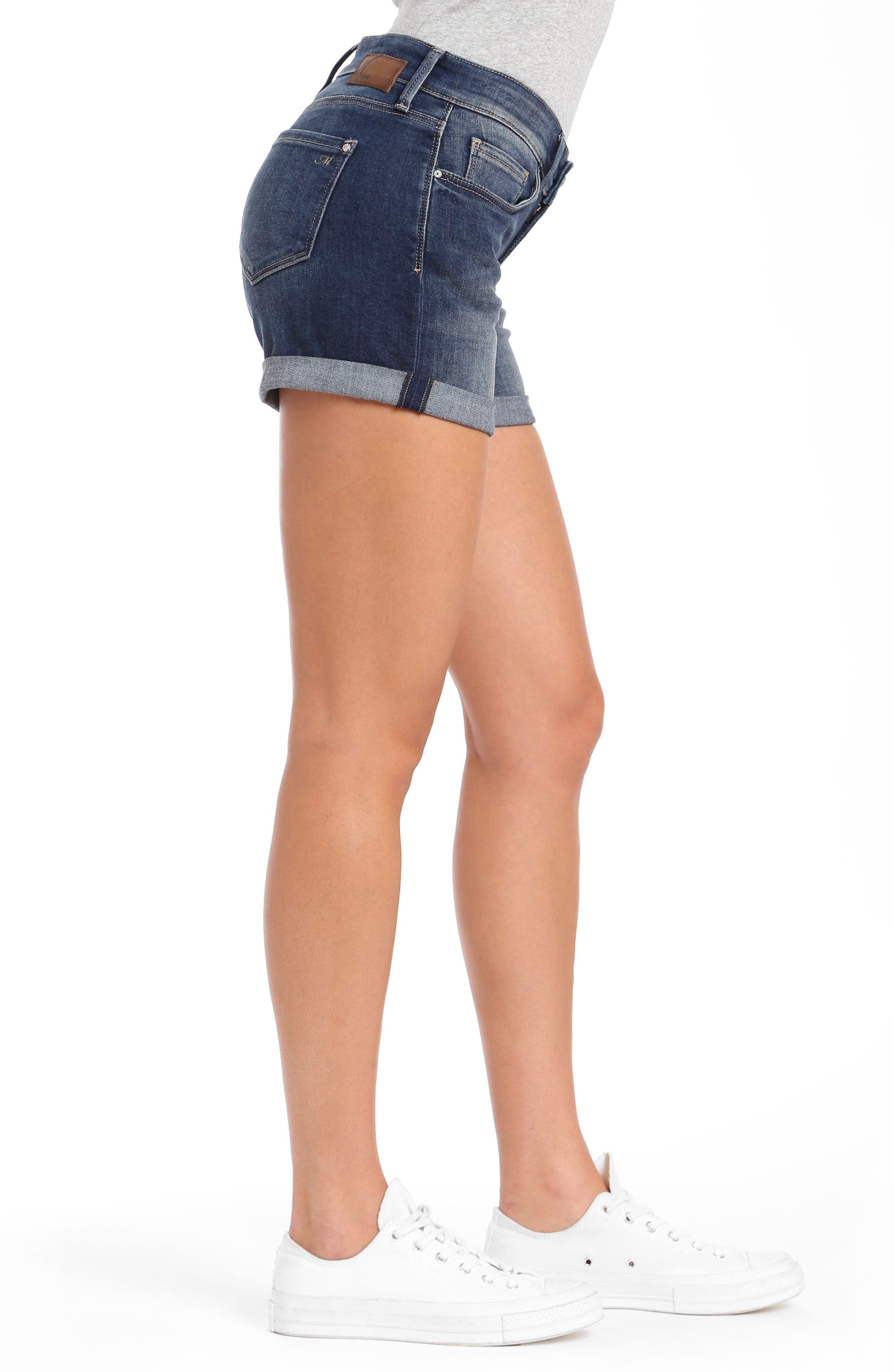 Vanna Roll Cuff Shorts,                             Alternate thumbnail 3, color,                             Dark Shaded Tribeca
