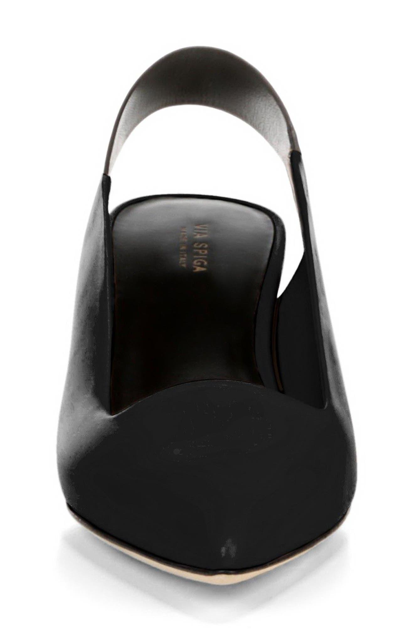 Blake Slingback Pump,                             Alternate thumbnail 3, color,                             Black Leather