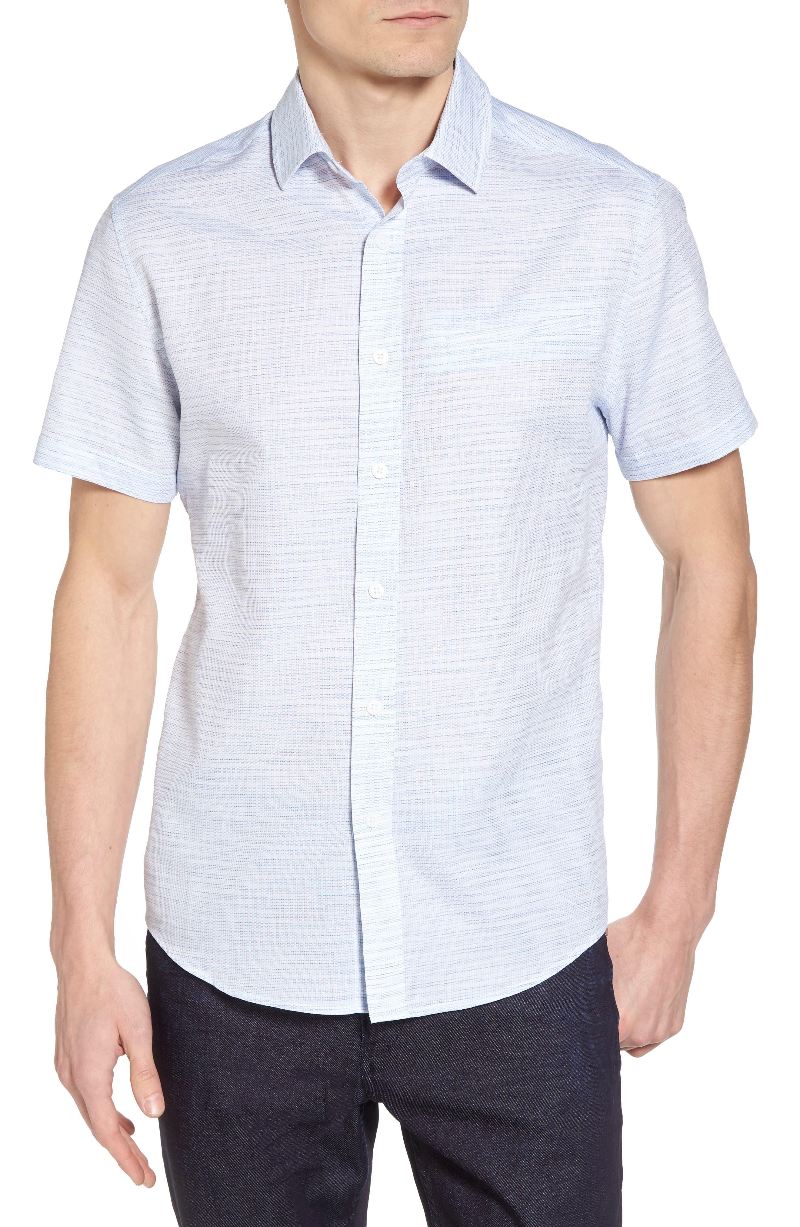 Slim Fit Stripe Short Sleeve Sport Shirt,                         Main,                         color, Light/ Pastel Blue Dobby