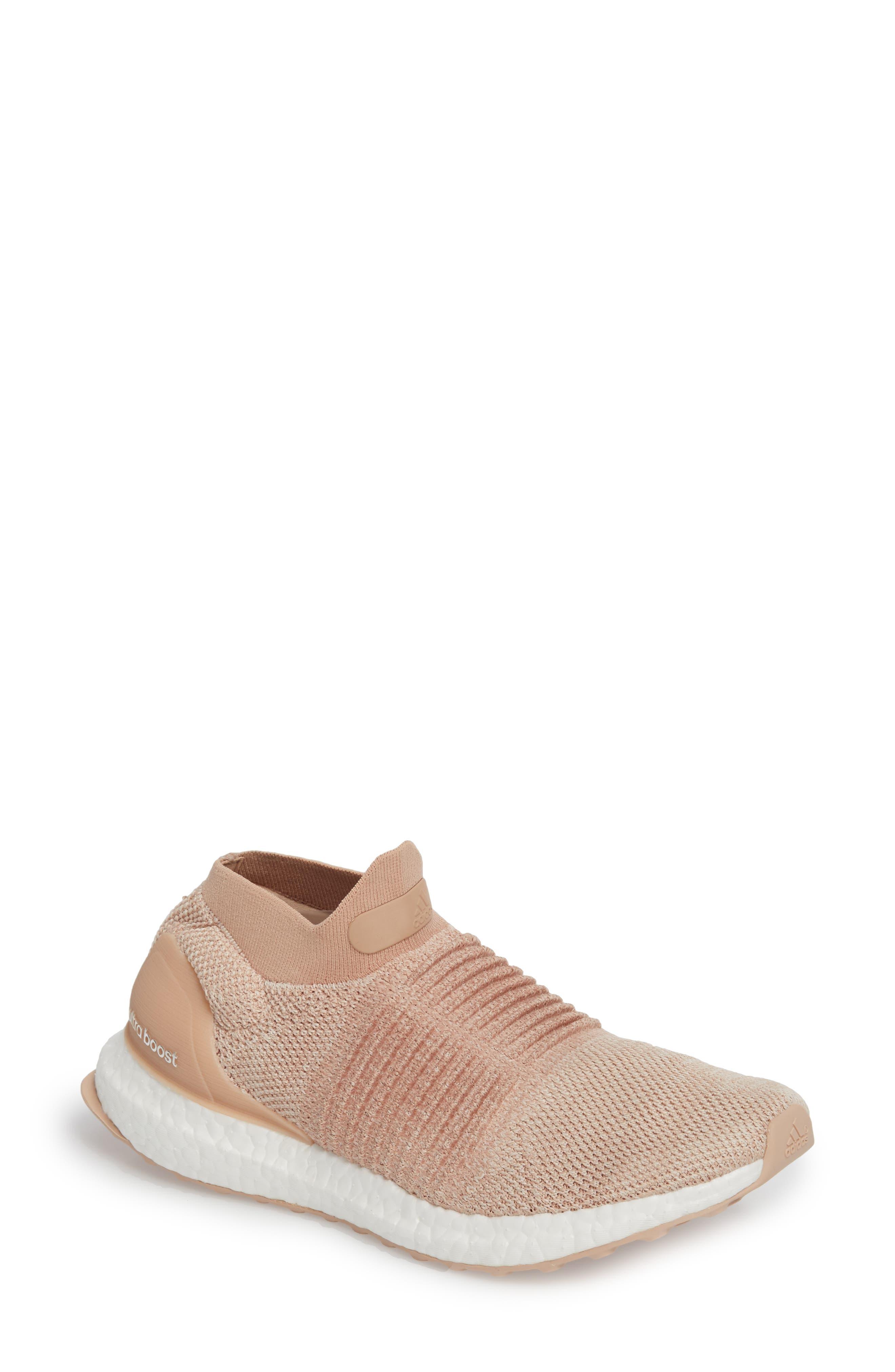 UltraBoost Laceless Running Shoe,                         Main,                         color, Ash Pearl/ Ash Pearl