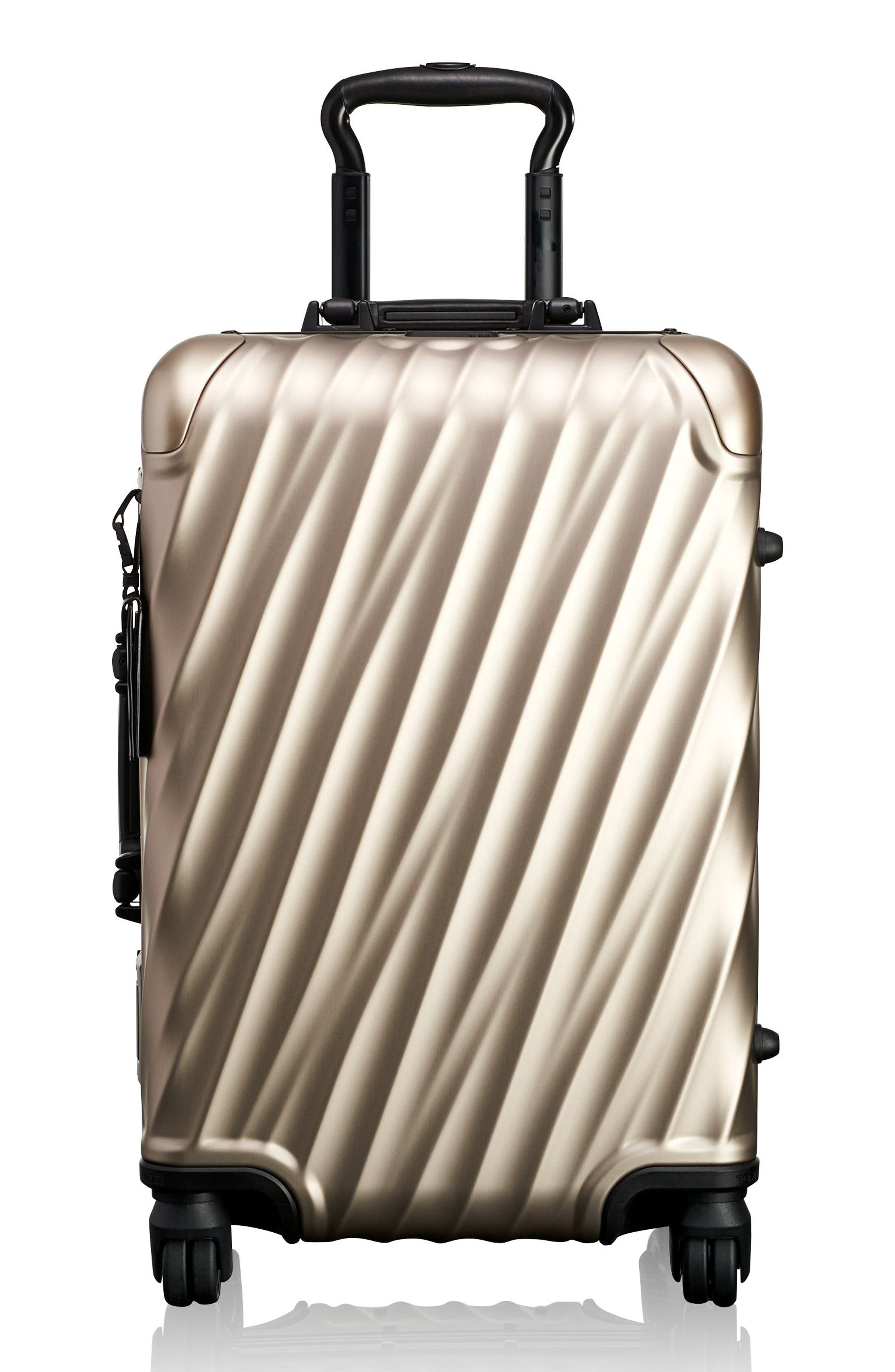 19-Degree 22-Inch Aluminum Spinner Carry-On,                         Main,                         color, Ivory Gold