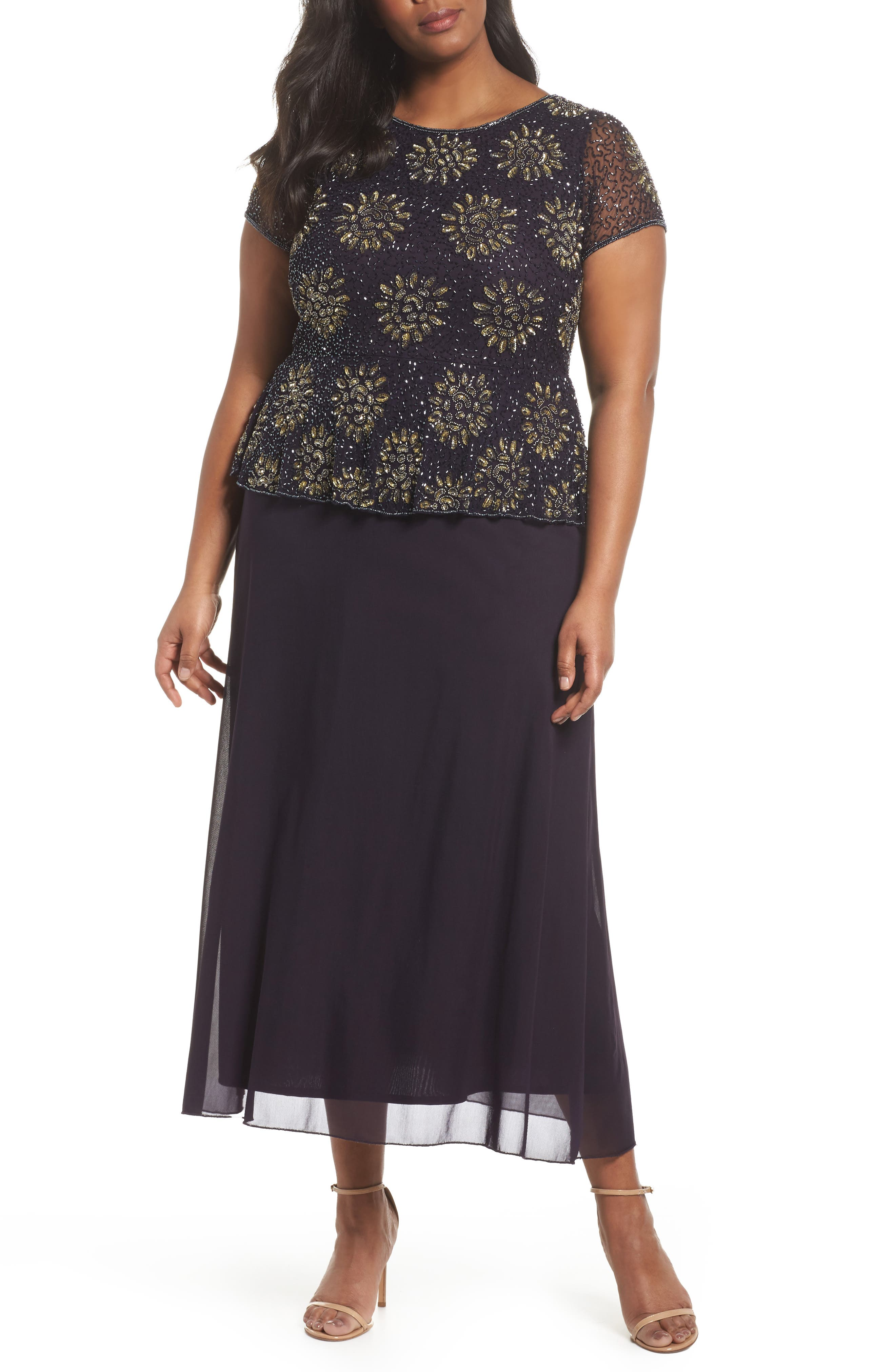 Embellished Mock Two-Piece Gown,                         Main,                         color, Eggplant