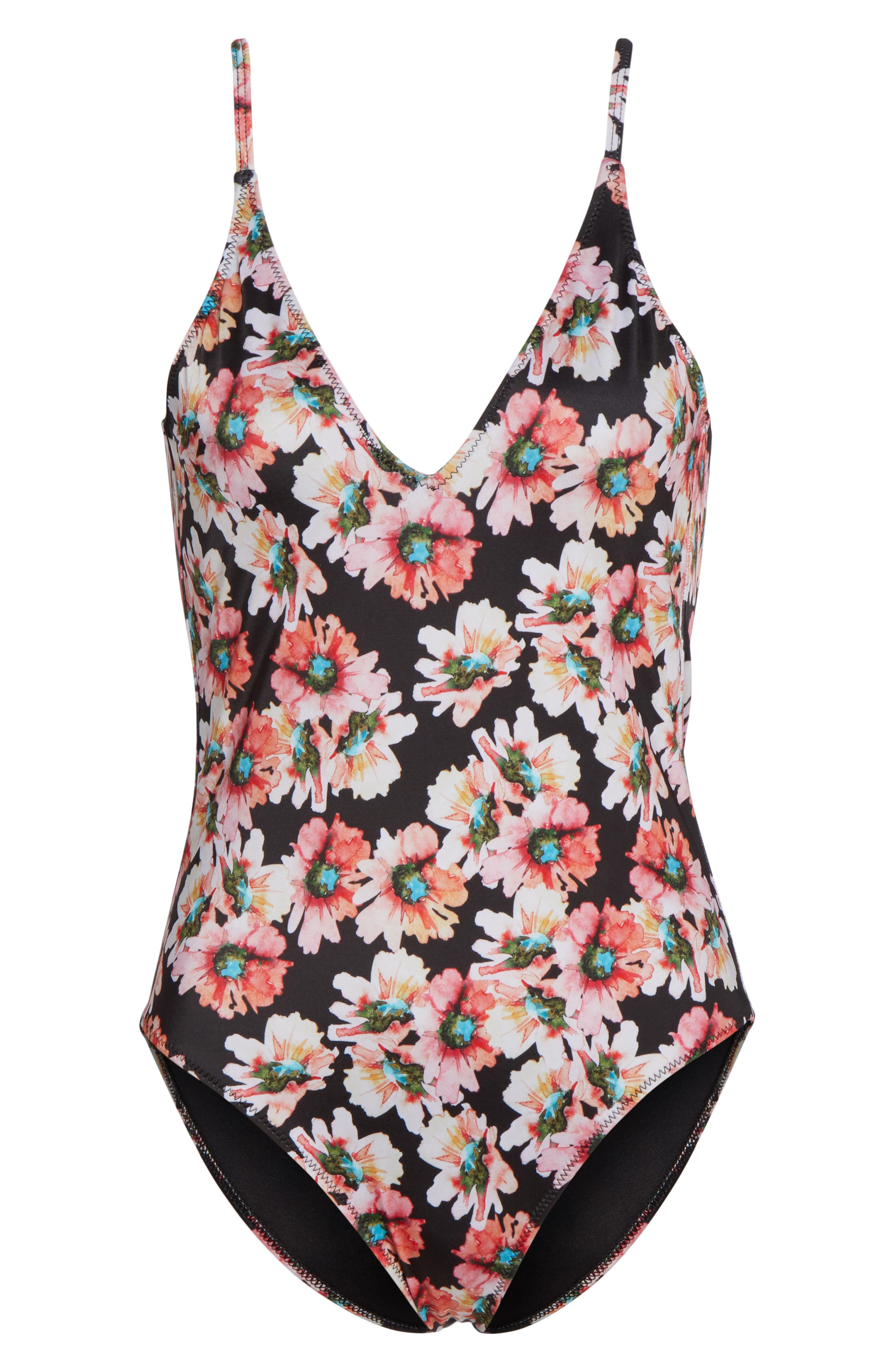 Flower Print One-Piece Swimsuit,                             Alternate thumbnail 6, color,                             Coral Glow Sunflower