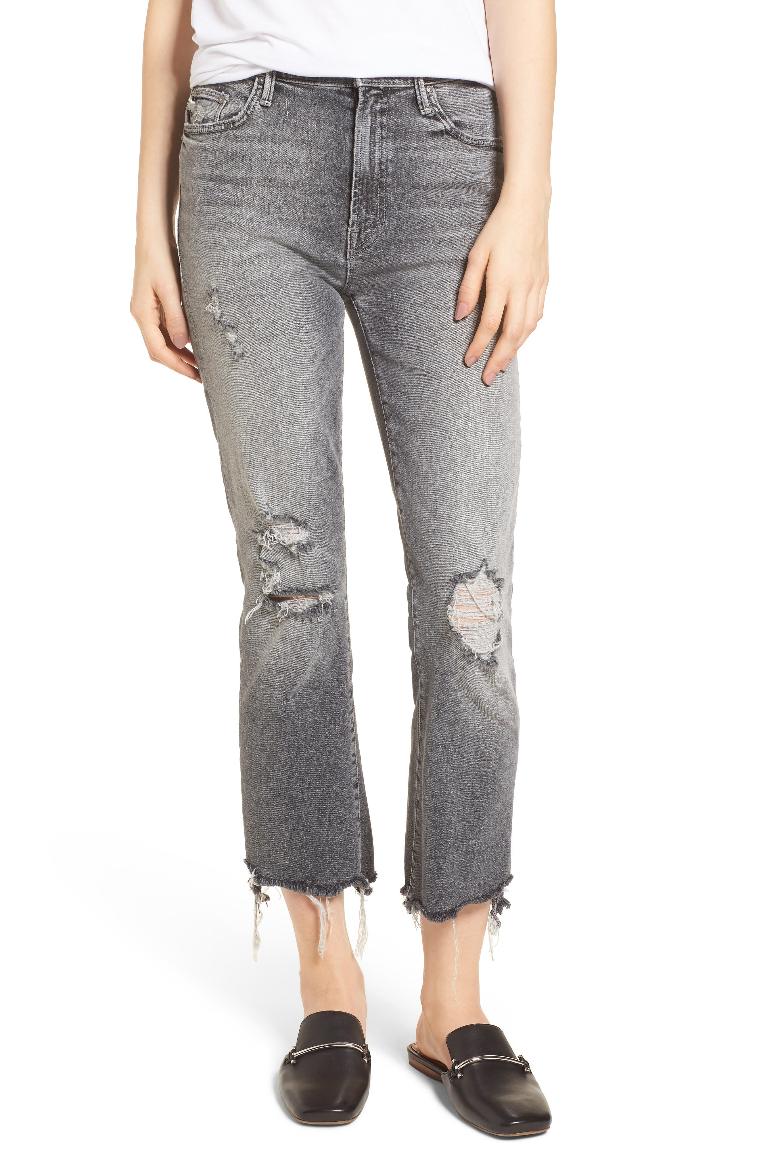 MOTHER The Insider High Waist Step Hem Crop Bootcut Jeans (Scene of the Crime)