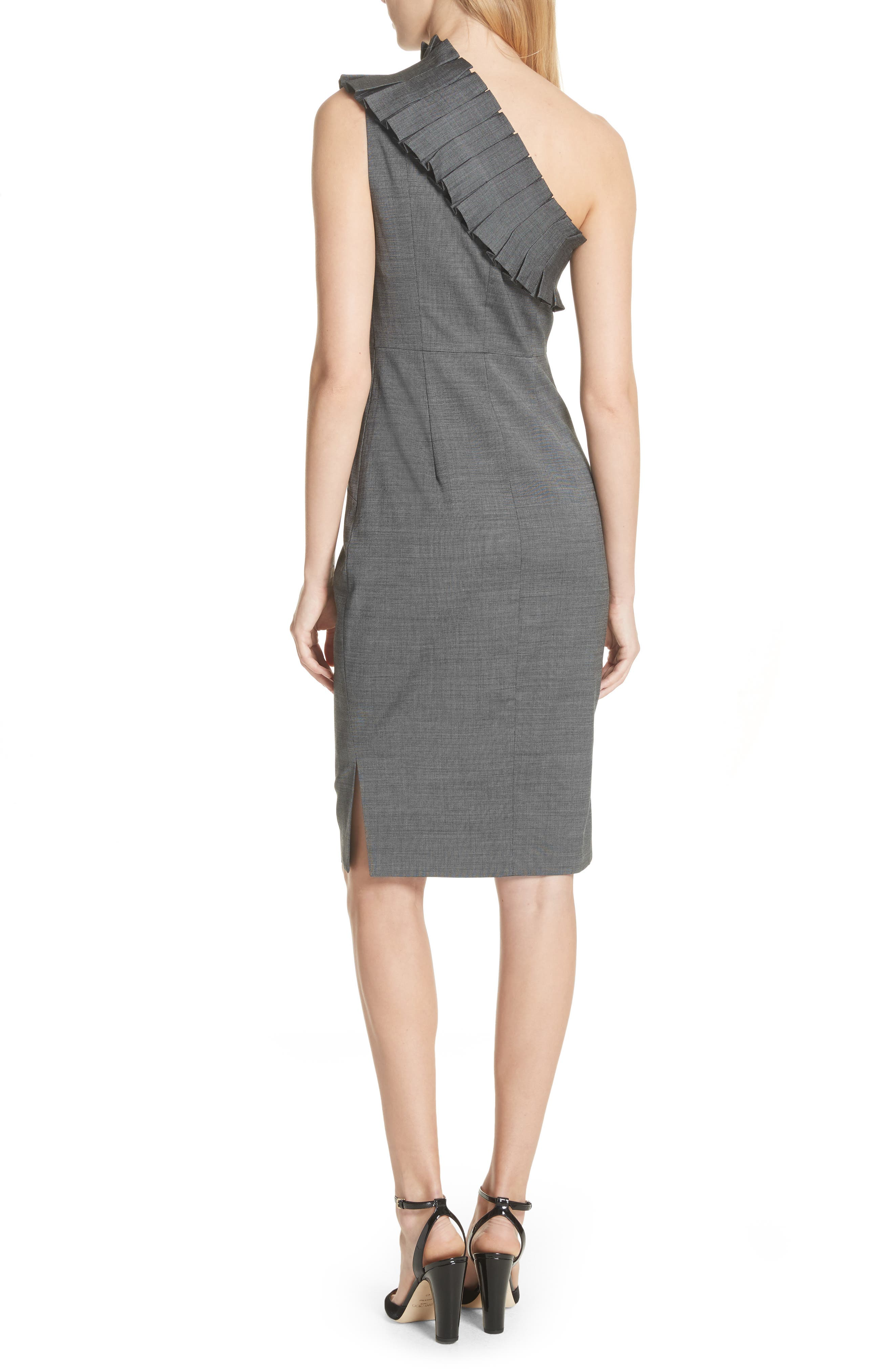 One-Shoulder Sheath Dress,                             Alternate thumbnail 2, color,                             Grey