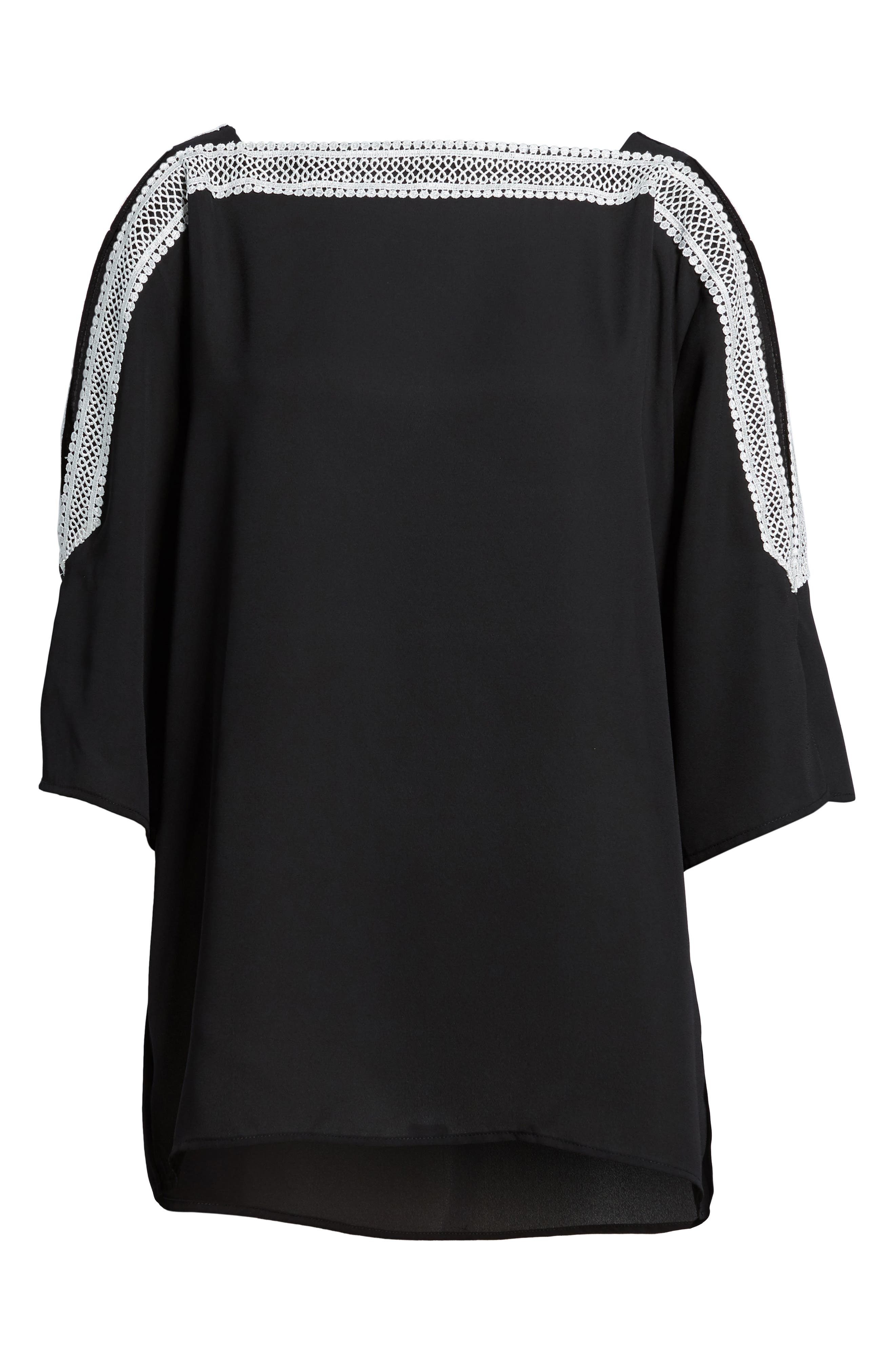 Embroidered Off the Shoulder louse,                             Alternate thumbnail 6, color,                             060-Rich Black