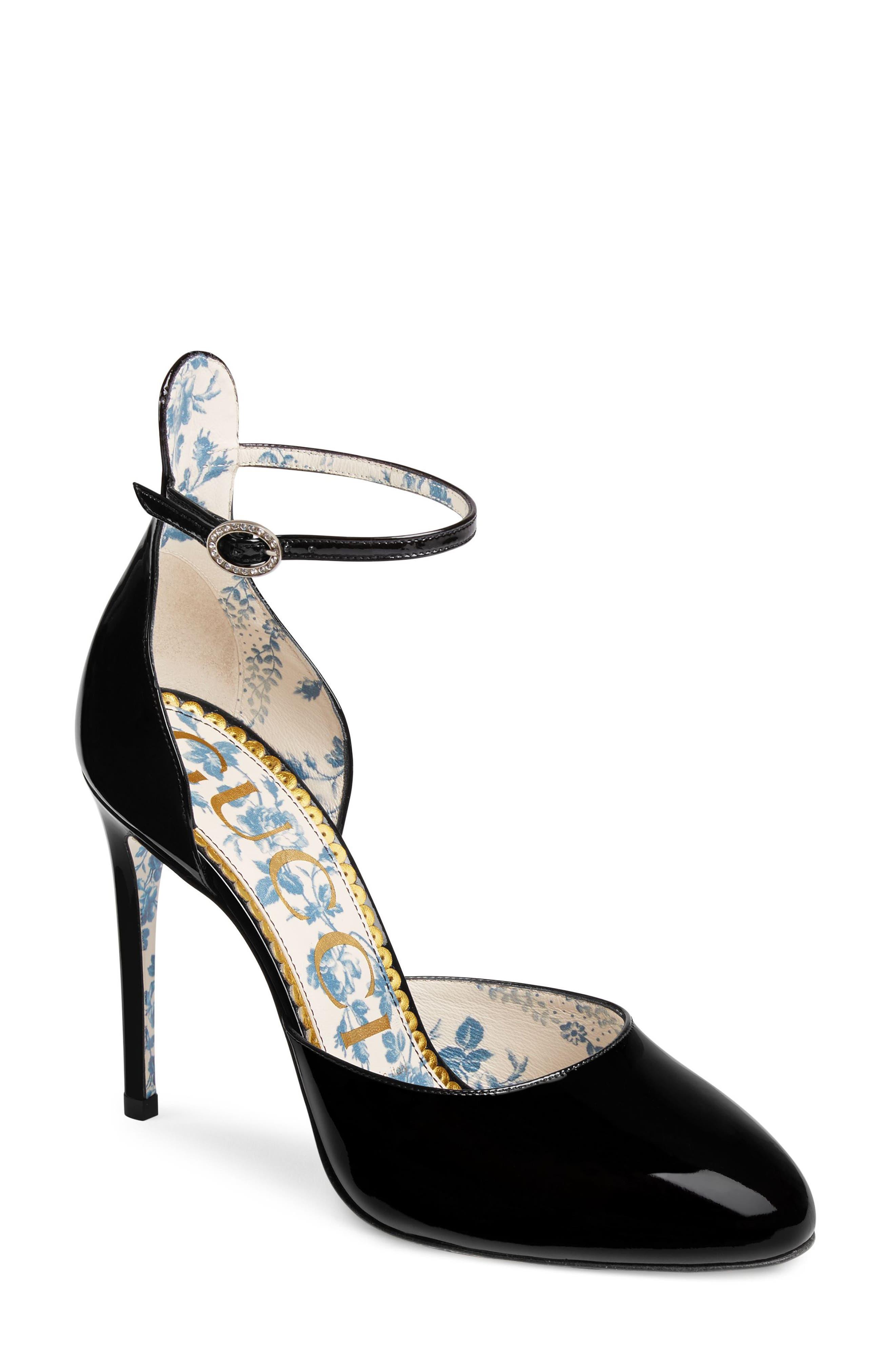 Daisy Ankle Strap Pump,                         Main,                         color, Black