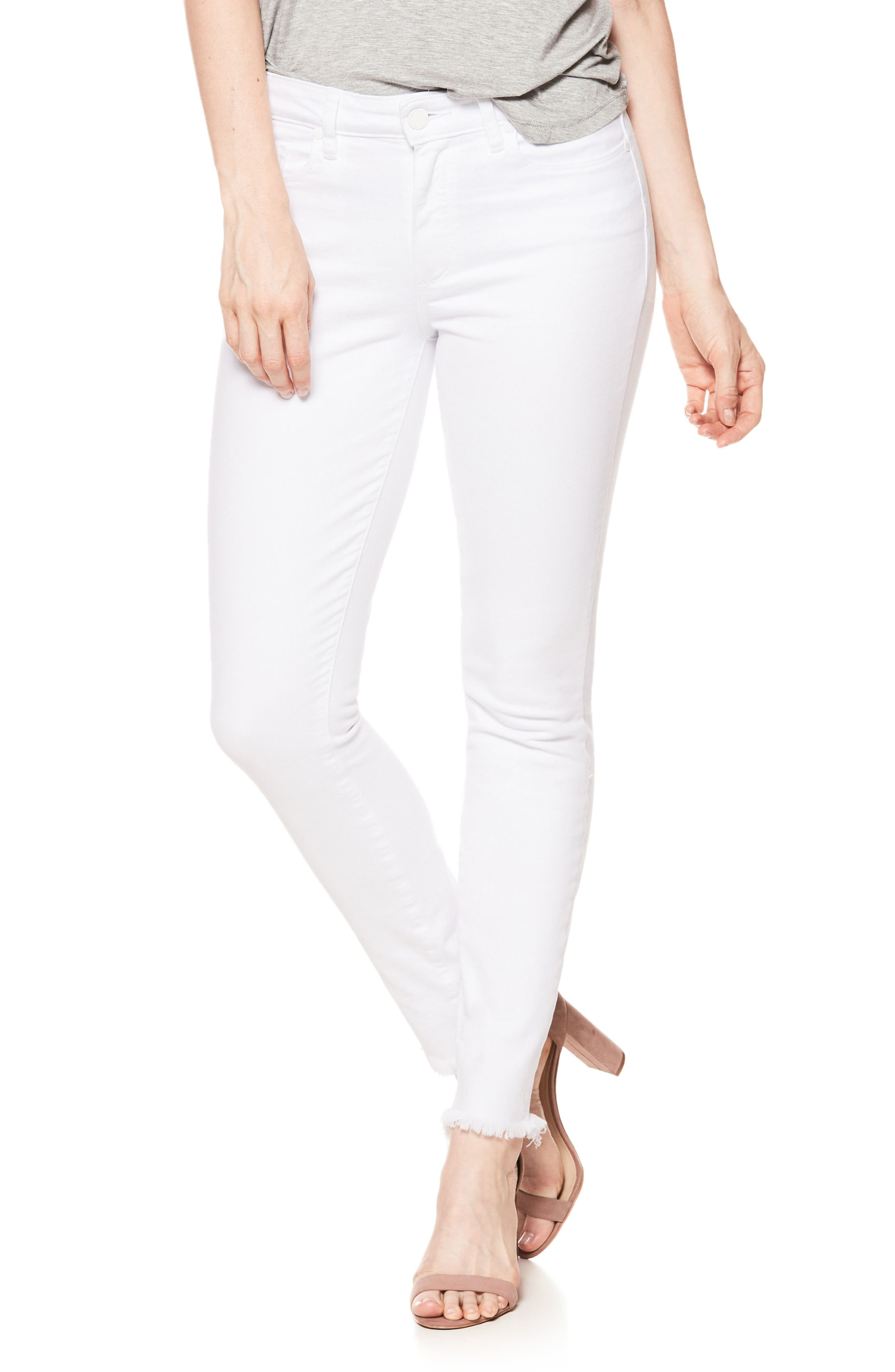 Hoxton High Waist Ankle Skinny Jeans,                         Main,                         color, Crisp White