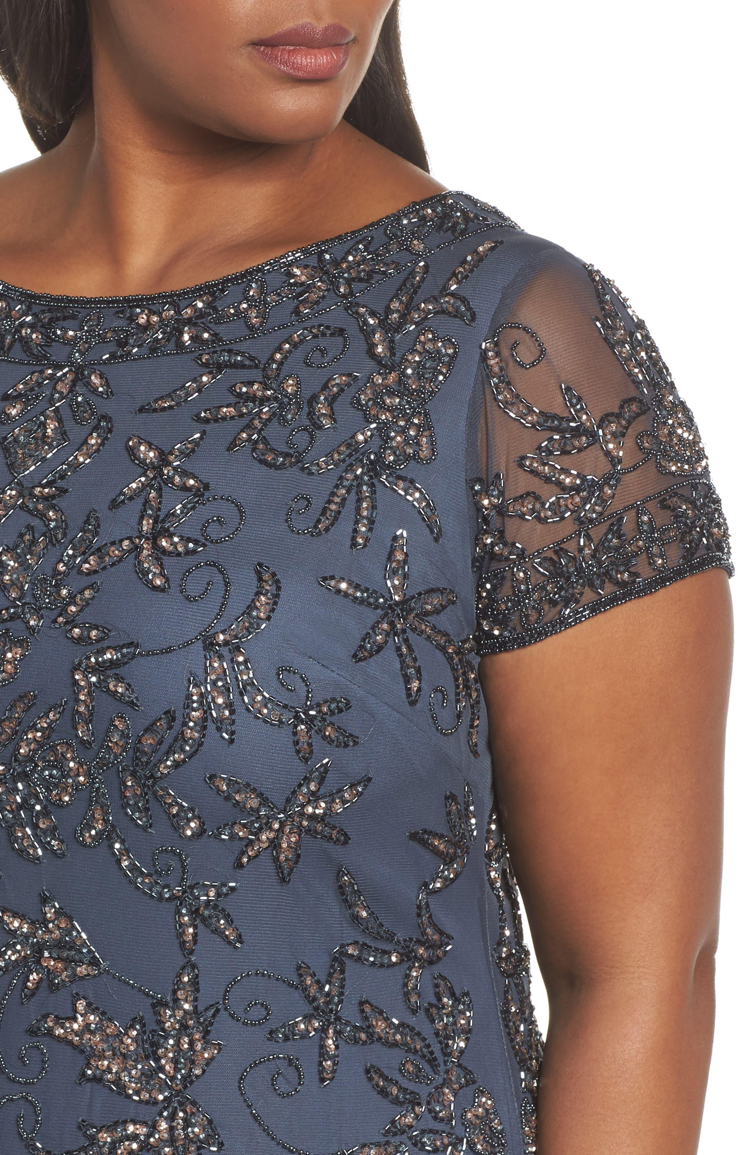 Embellished Sheath Dress,                             Alternate thumbnail 4, color,                             Slate