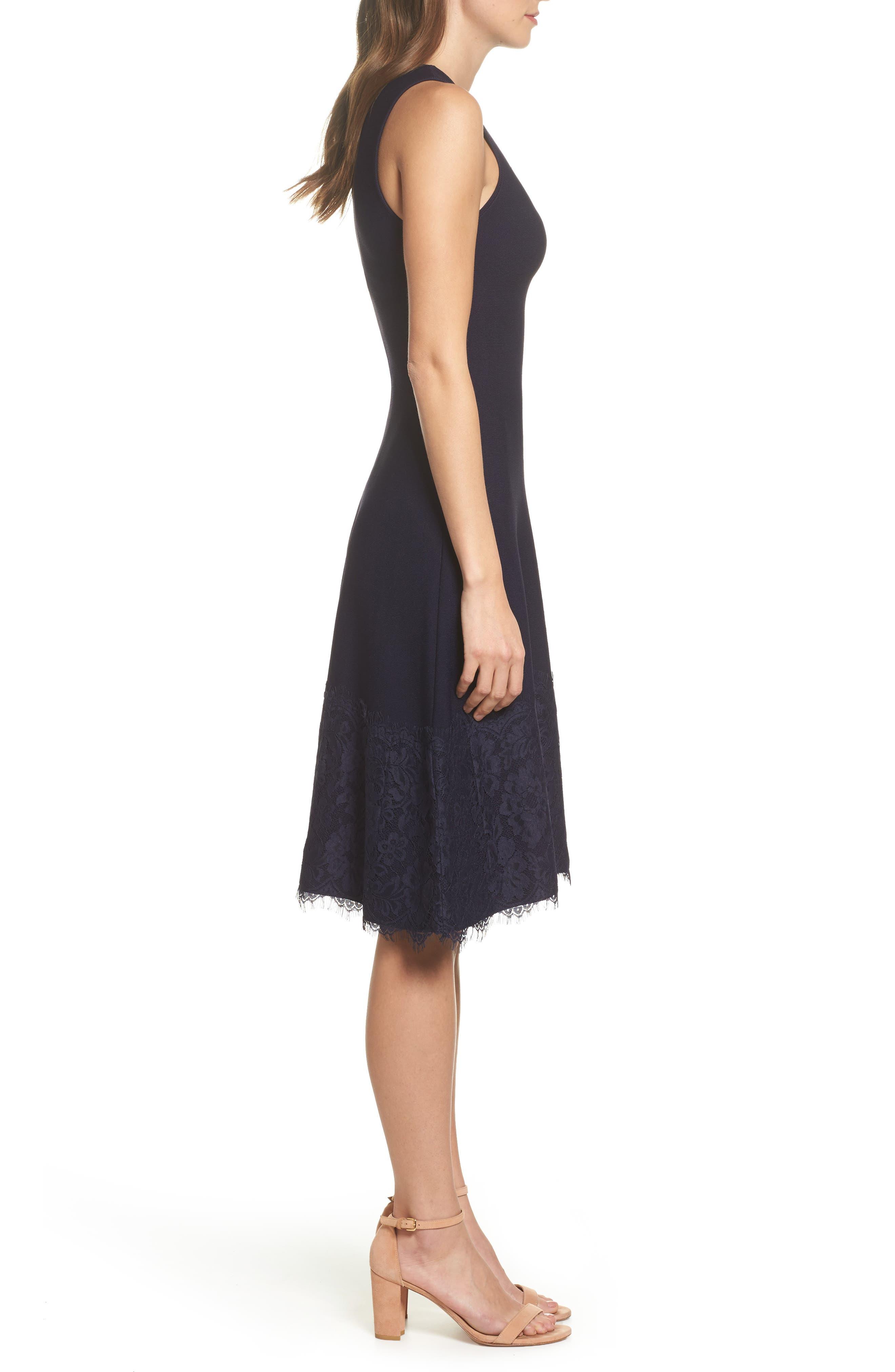 Lace Hem Fit & Flare Dress,                             Alternate thumbnail 3, color,                             Navy