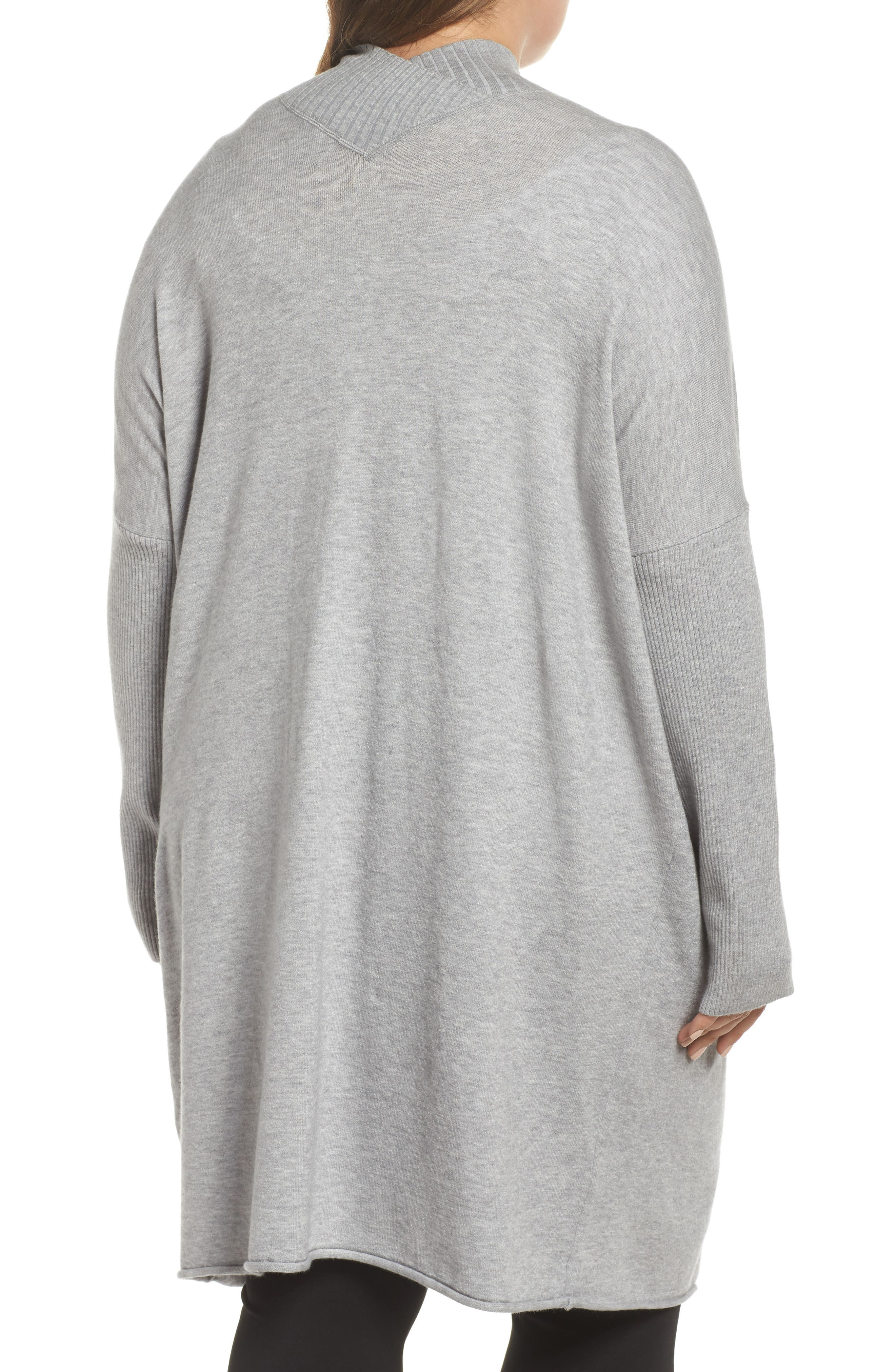 Off-Duty Long Open Front Cardigan,                             Alternate thumbnail 2, color,                             Grey Heather