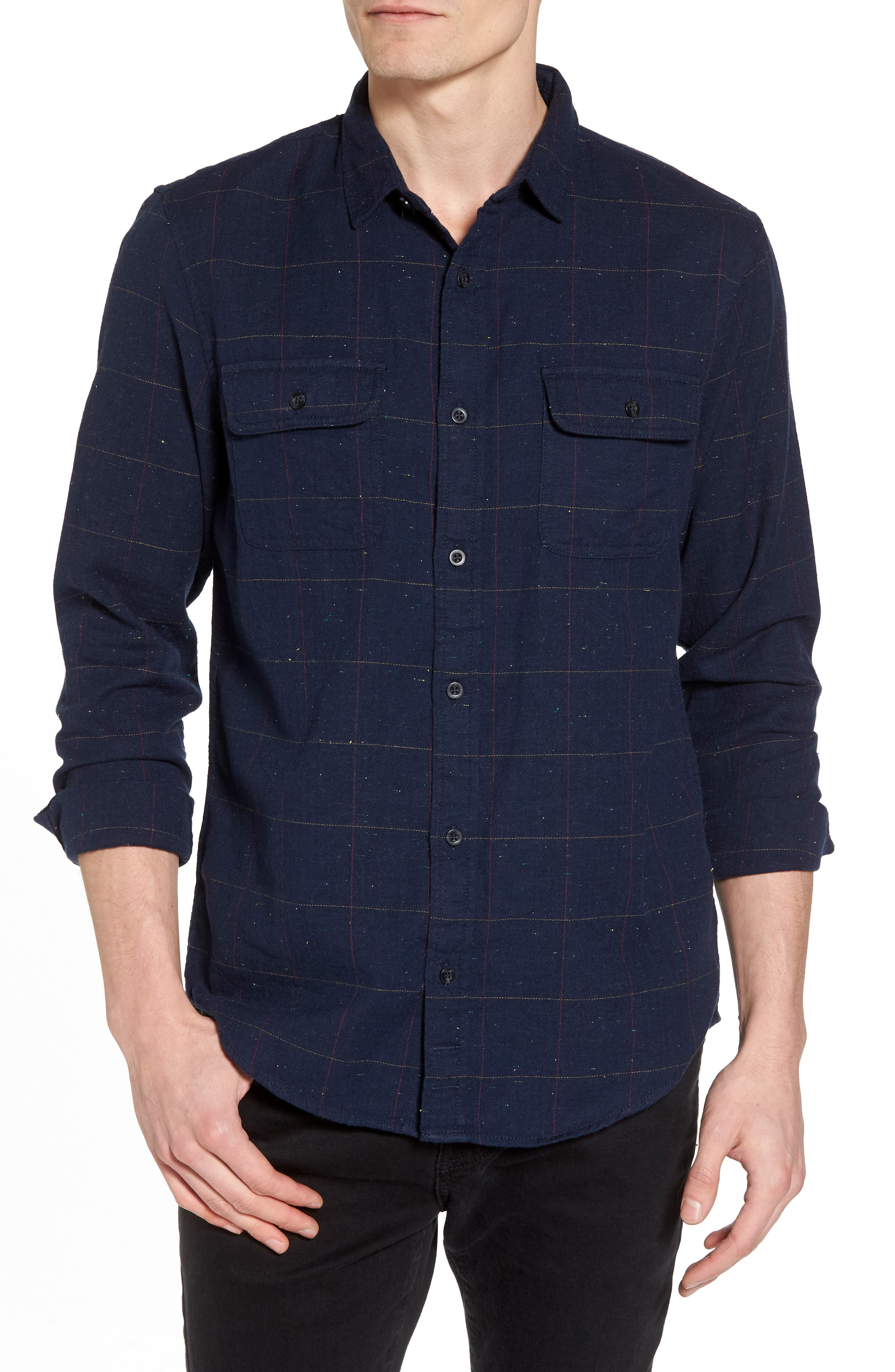 Herringbone Plaid Flannel Shirt,                             Main thumbnail 1, color,                             Black - White Nepped Tartan