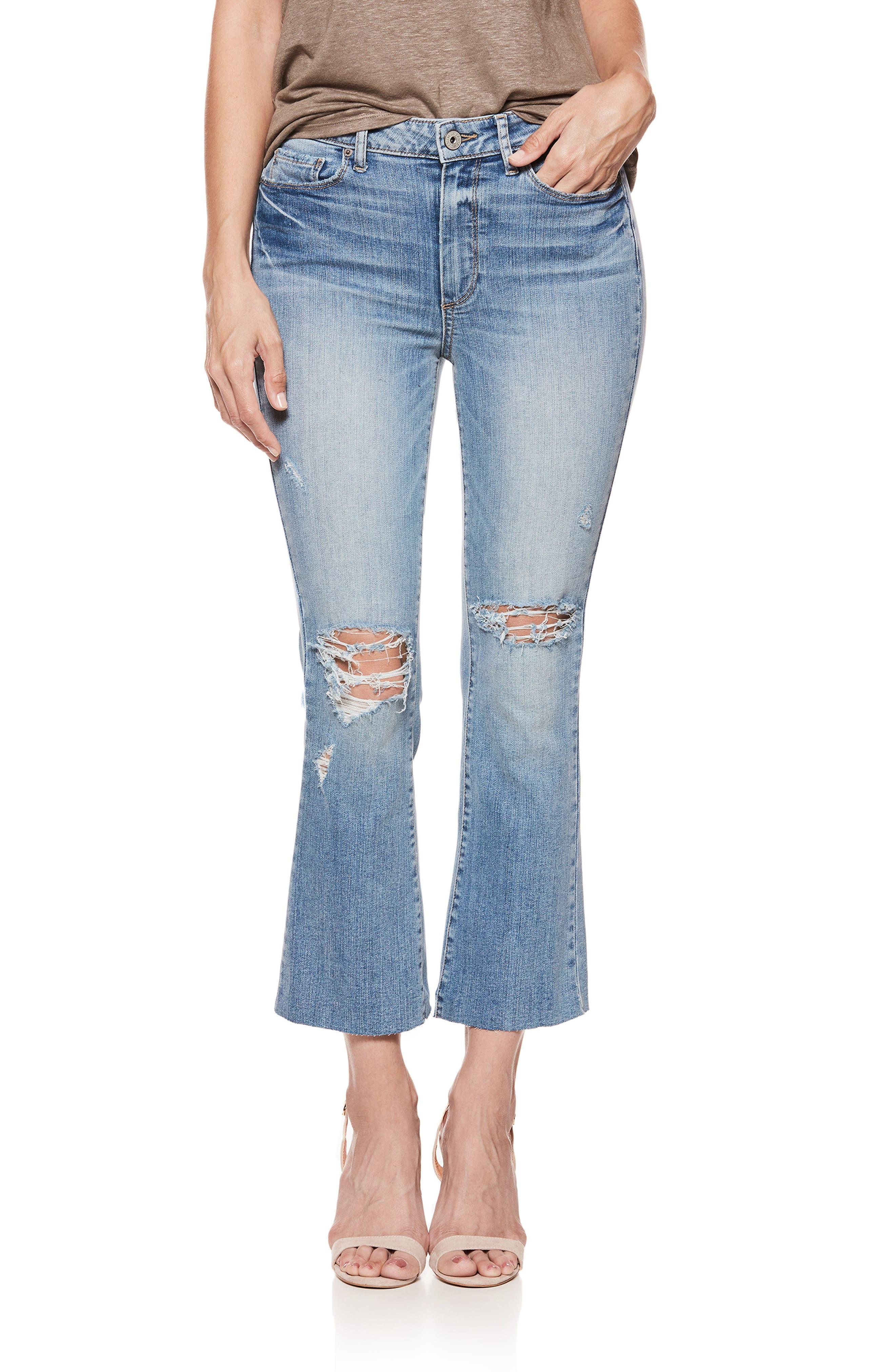 Colette High Waist Crop Flare Jeans,                             Main thumbnail 1, color,                             Janis Destructed