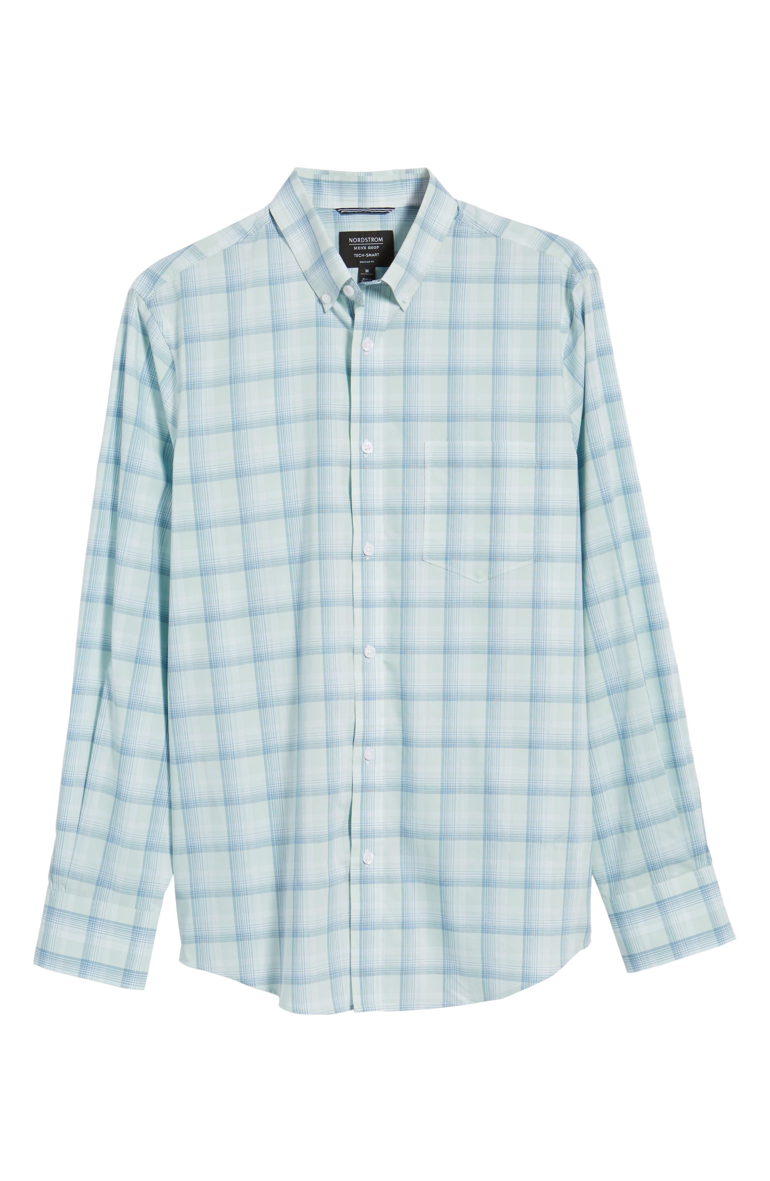Tech-Smart Regular Fit Plaid Sport Shirt,                             Alternate thumbnail 6, color,                             Teal Surf Blue Plaid
