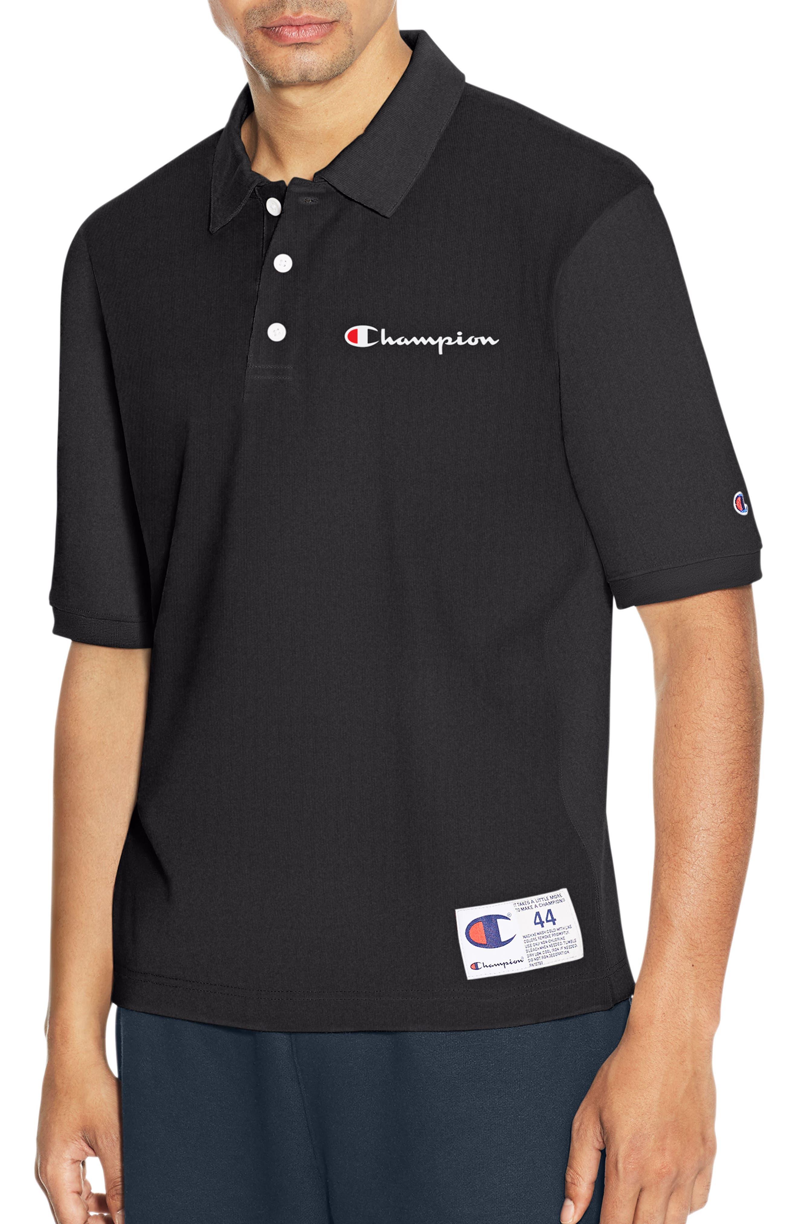 Reverse Weave Polo Shirt,                         Main,                         color, Black