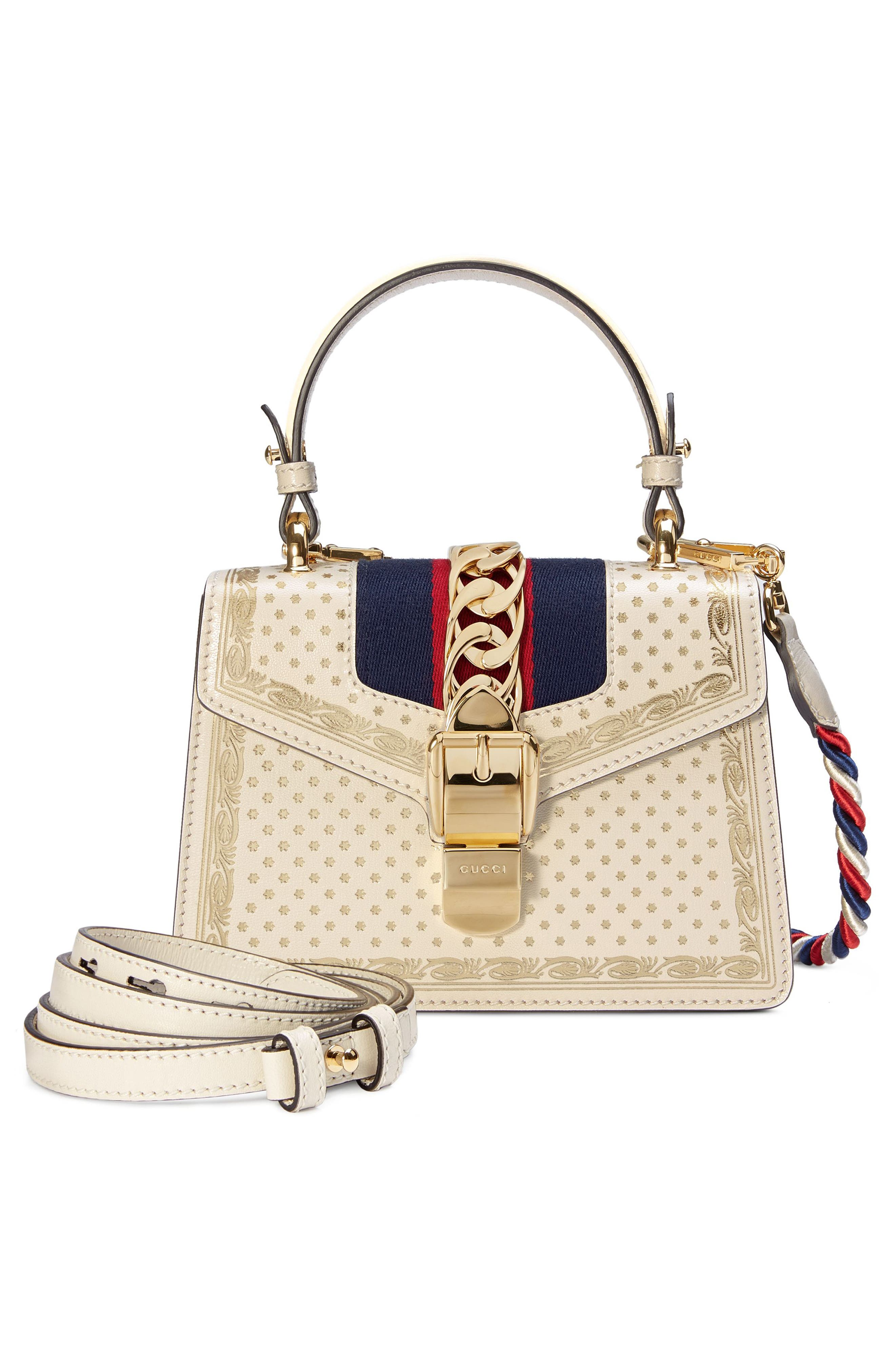Mini Sylvie Moon & Stars Leather Shoulder Bag,                             Alternate thumbnail 5, color,                             Mystic White/ Oro/ Blue Red