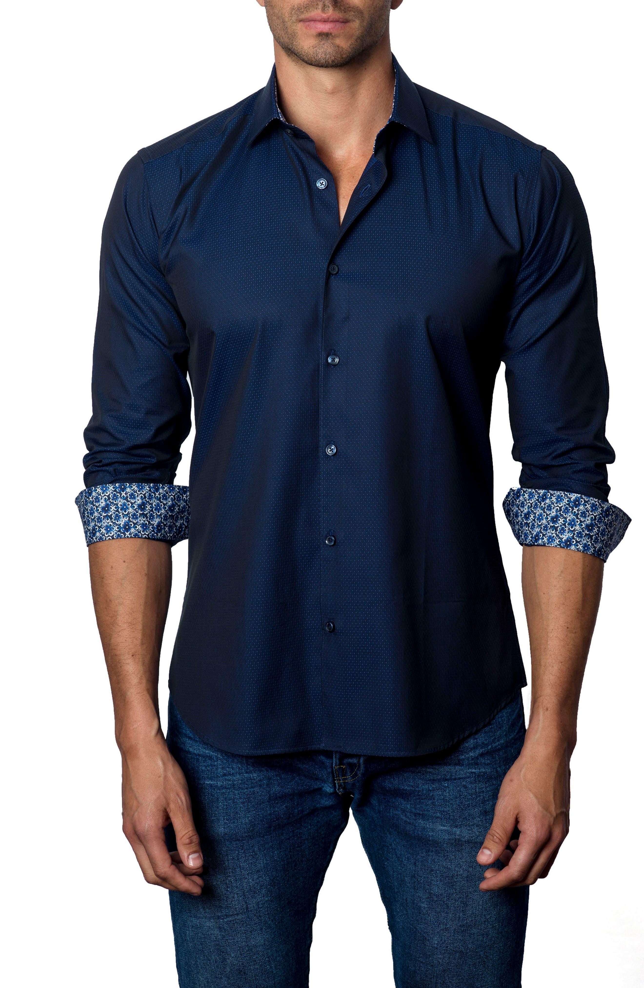 Trim Fit Woven Sport Shirt,                             Main thumbnail 1, color,                             Navy