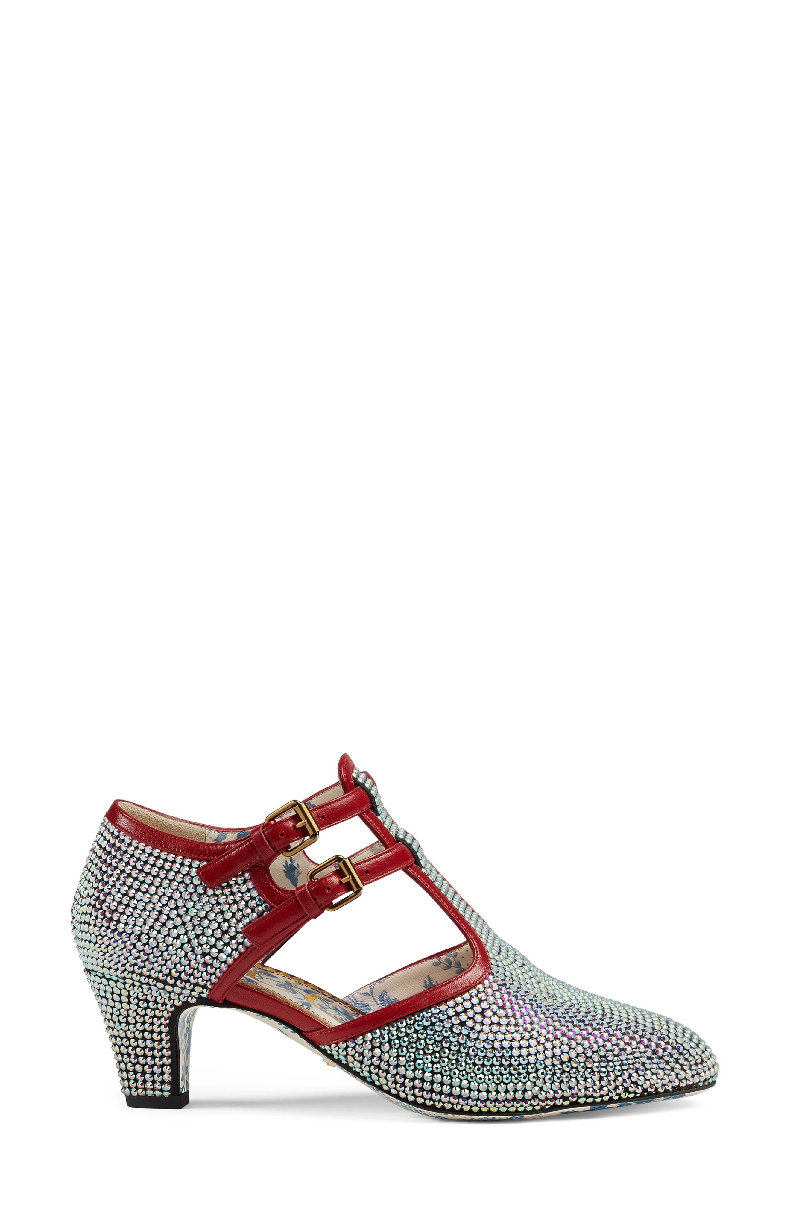 Mila Crystal Embellished T-Strap Pump,                             Alternate thumbnail 2, color,                             Silver