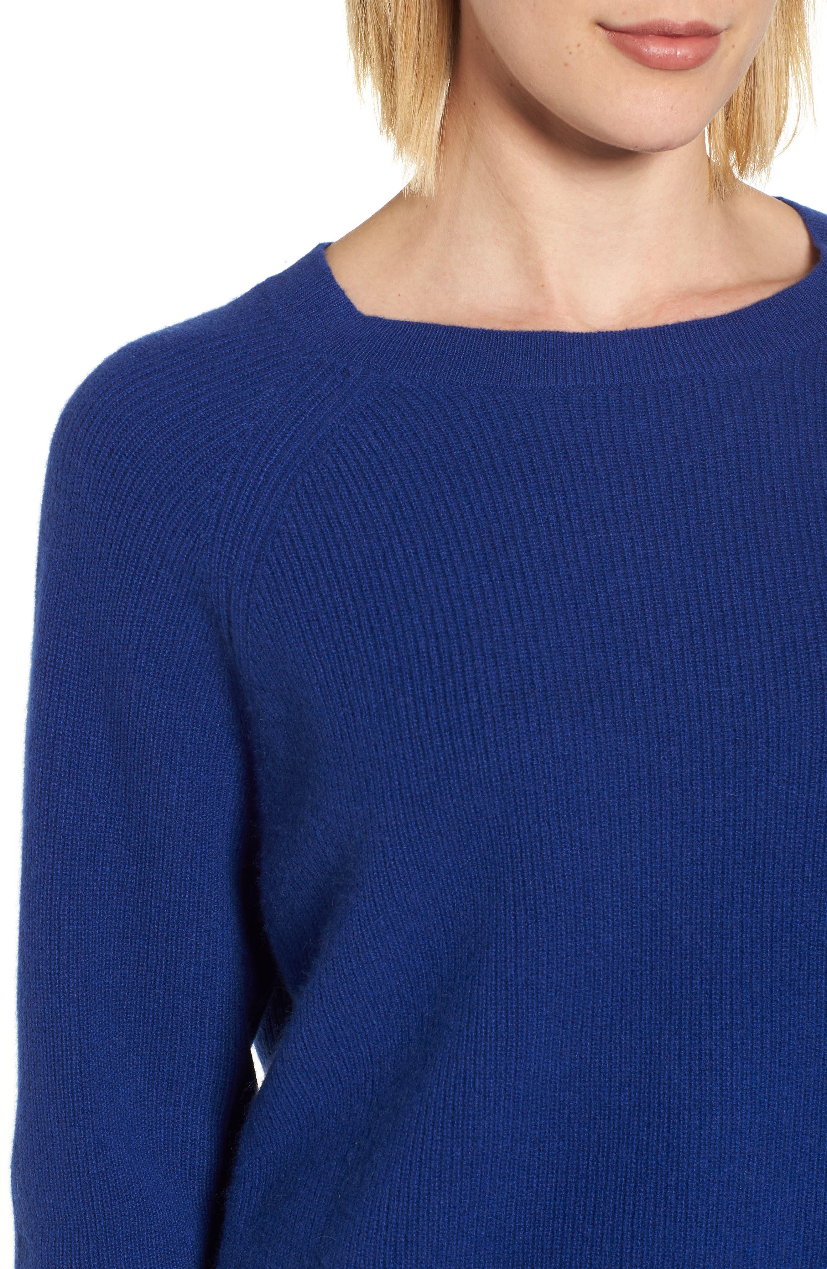 Cashmere Sweater,                             Alternate thumbnail 4, color,                             Coblt Blue