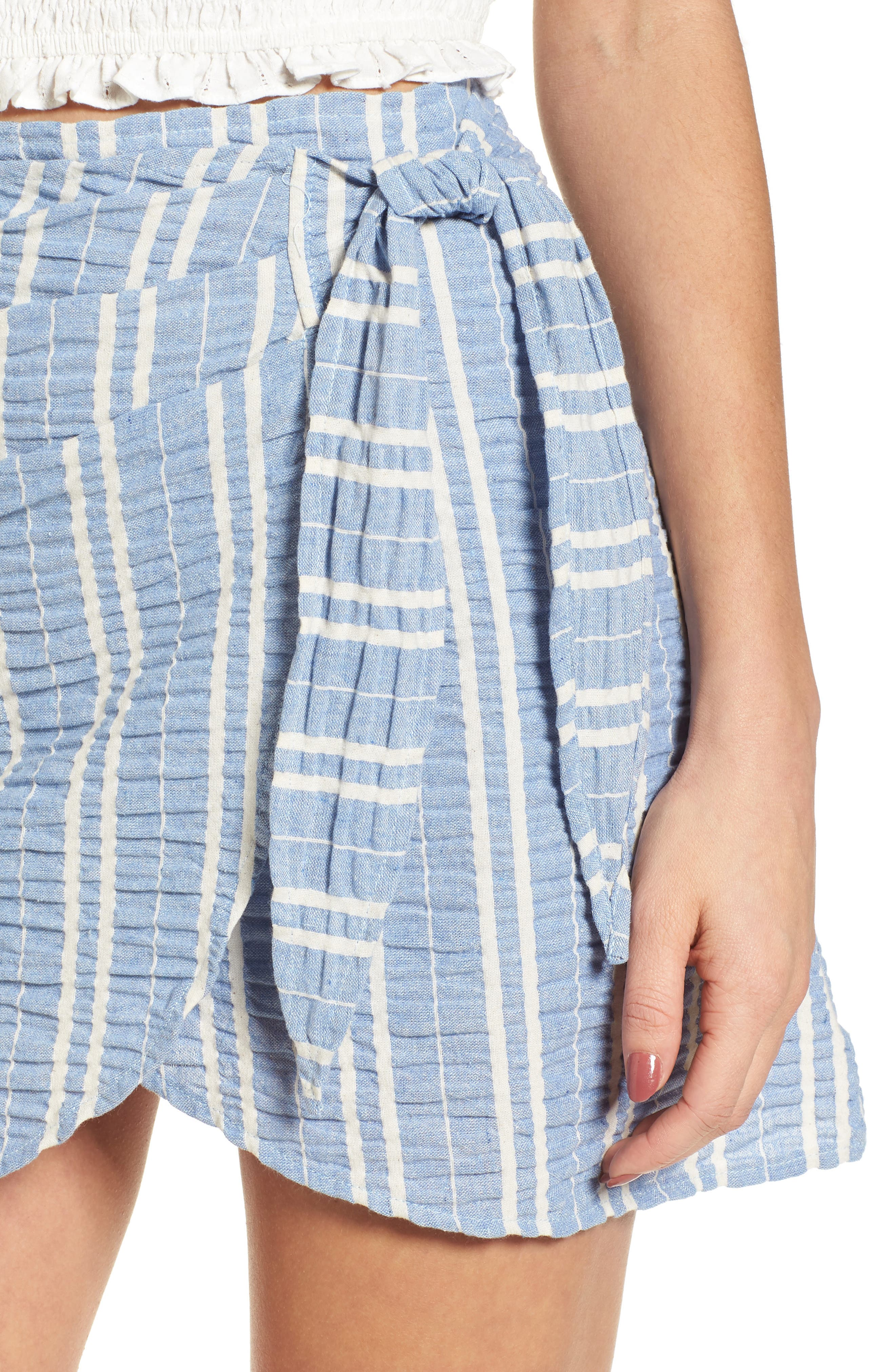 Waves Wrap Front Skirt,                             Alternate thumbnail 5, color,                             Blue