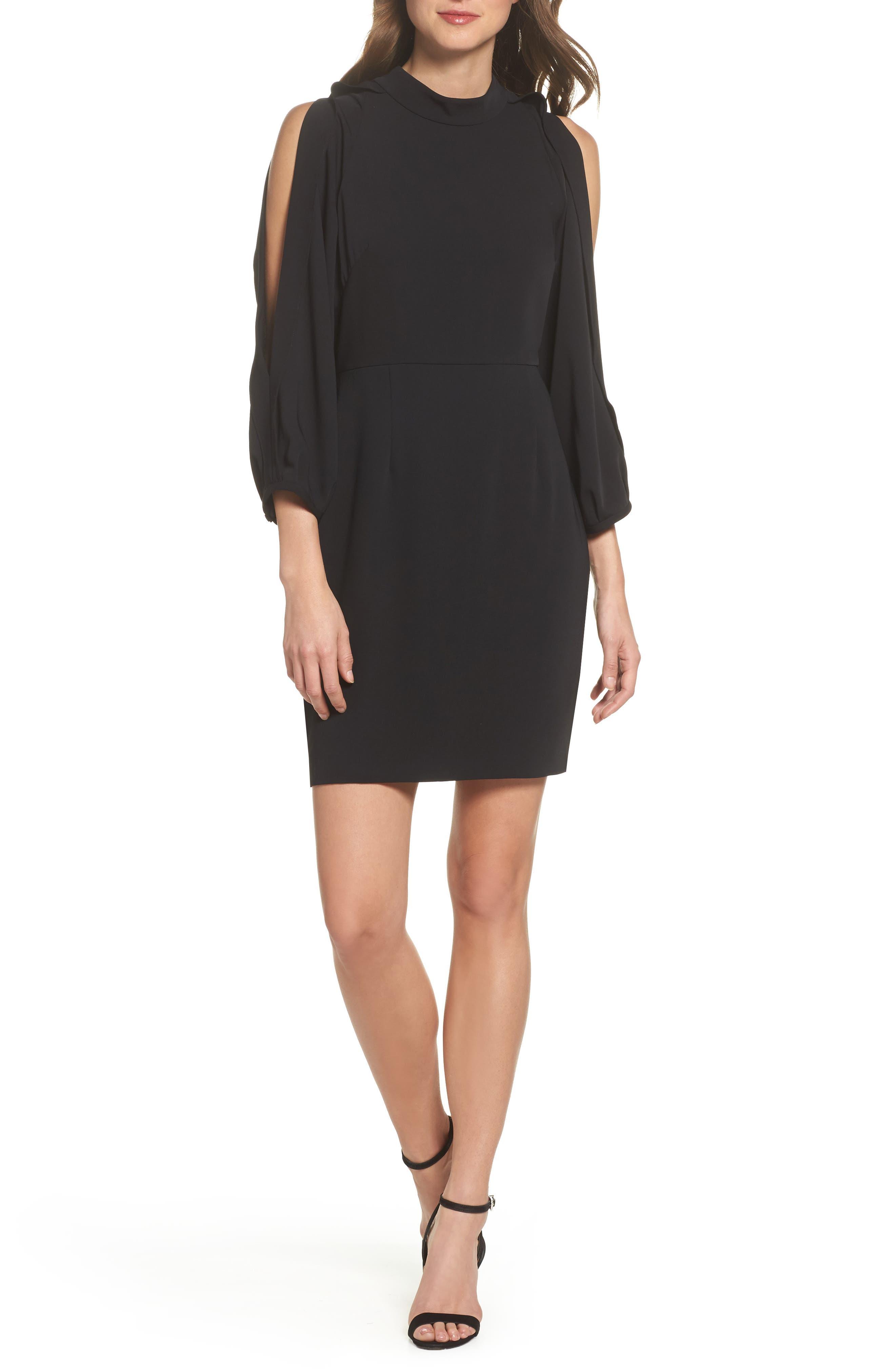 Split Sleeve Minidress,                         Main,                         color, Black