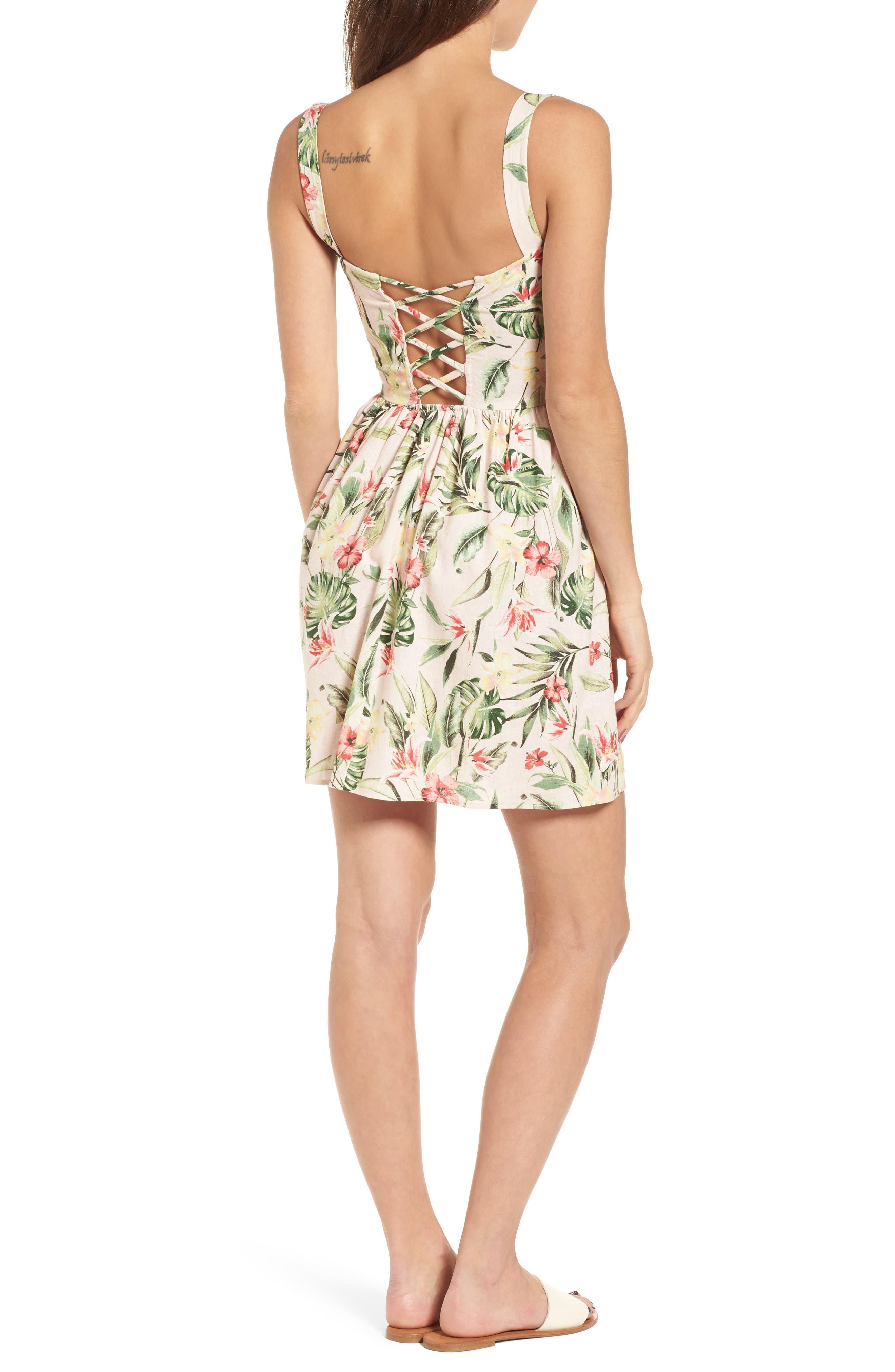 Tropical Lace Back Minidress,                             Alternate thumbnail 2, color,                             Blush/ Green