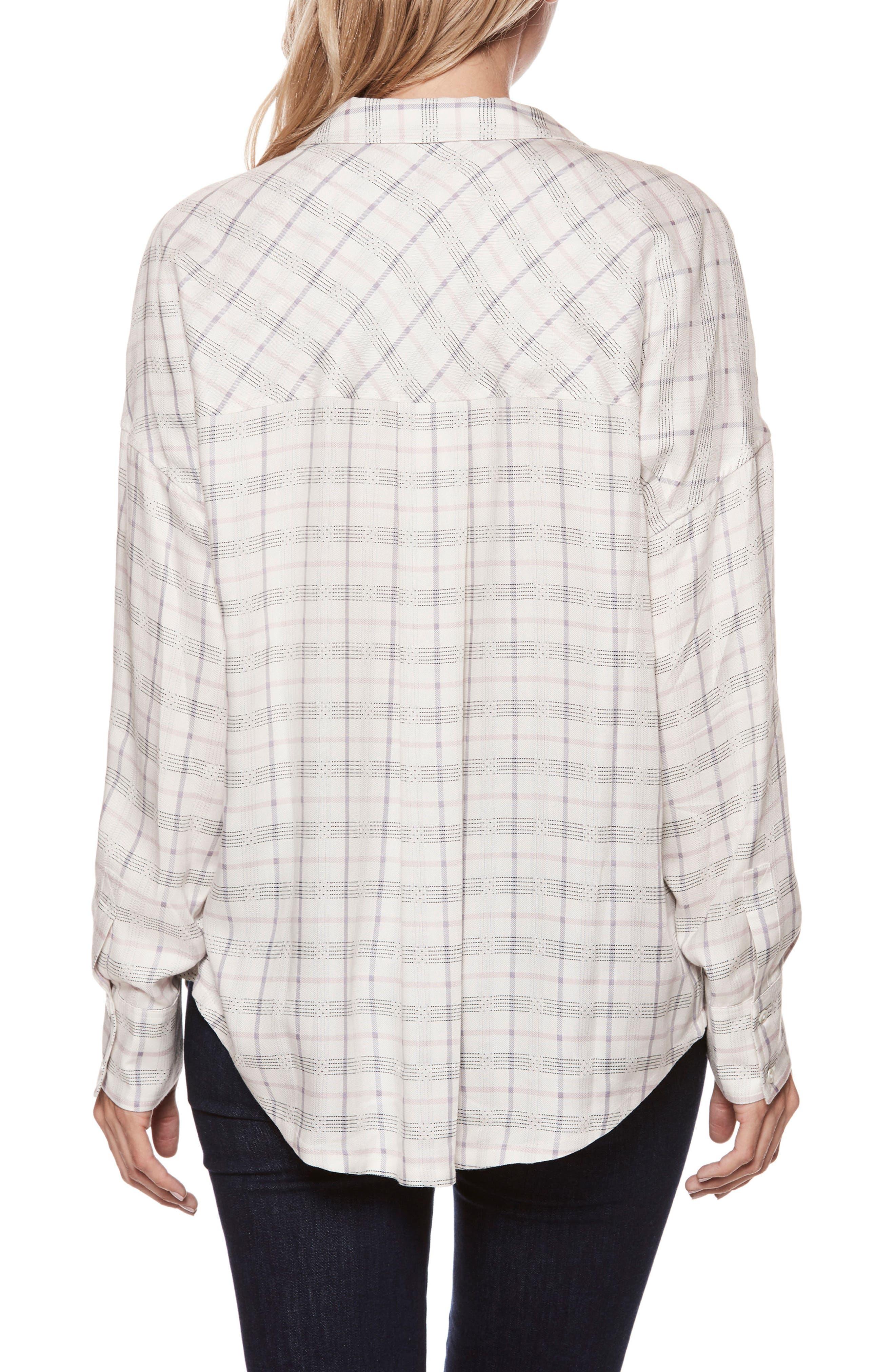 Delisa Check Shirt,                             Alternate thumbnail 3, color,                             White/ Lilac