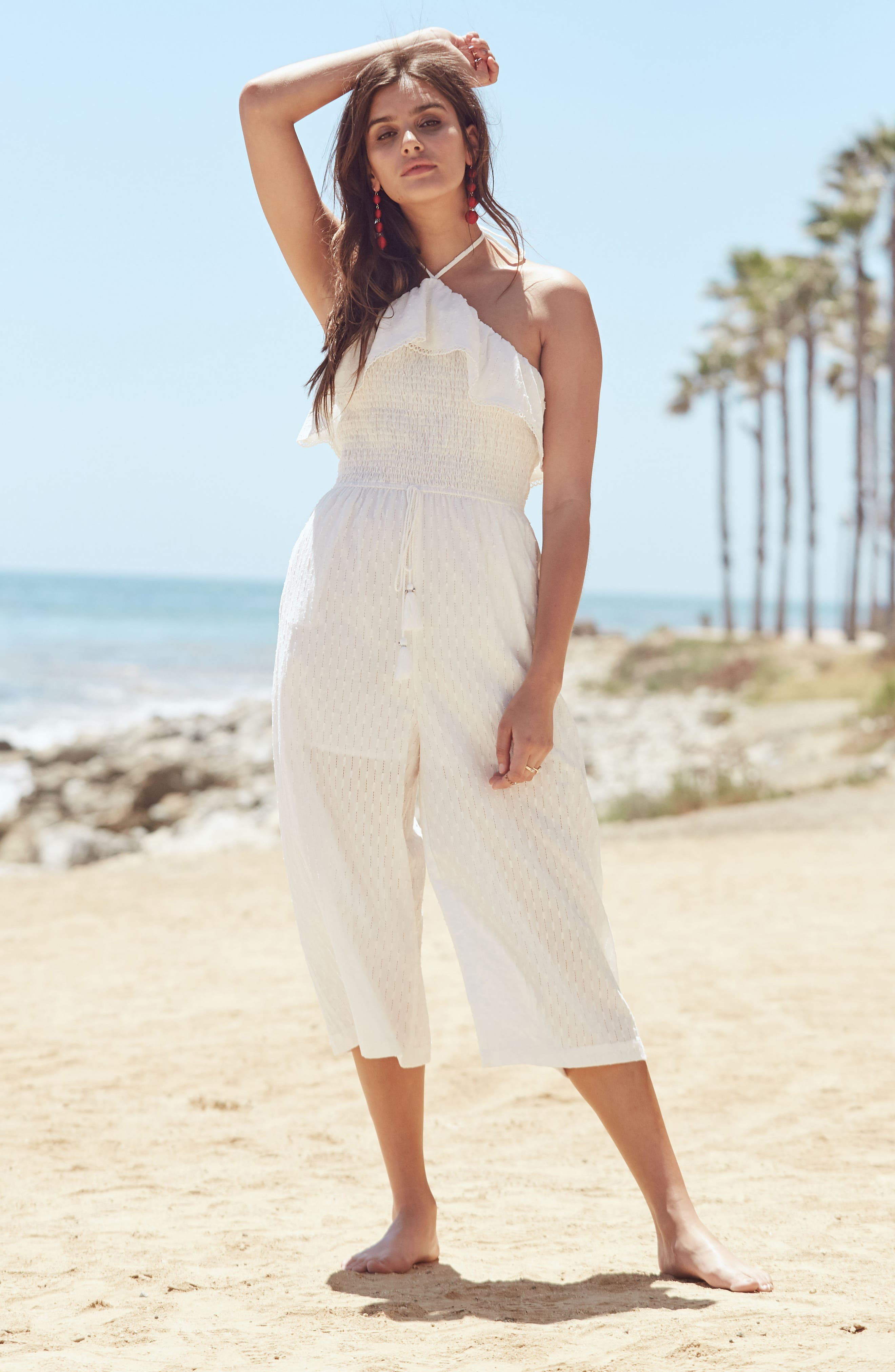 Coco Smocked Ruffle Off the Shoulder Jumpsuit,                             Alternate thumbnail 7, color,                             White