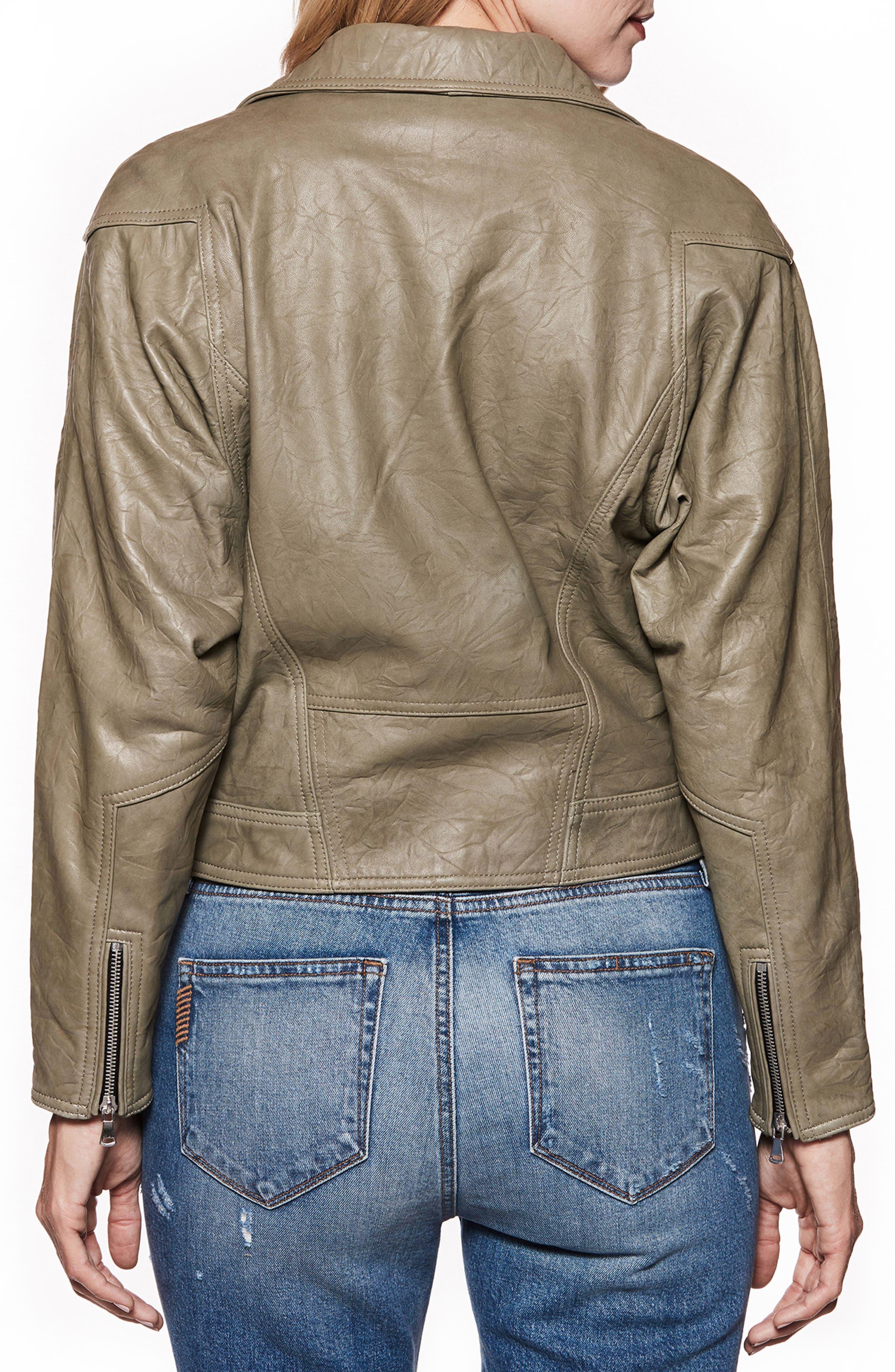 Sivan Leather Moto Jacket,                             Alternate thumbnail 3, color,                             Spring Moss
