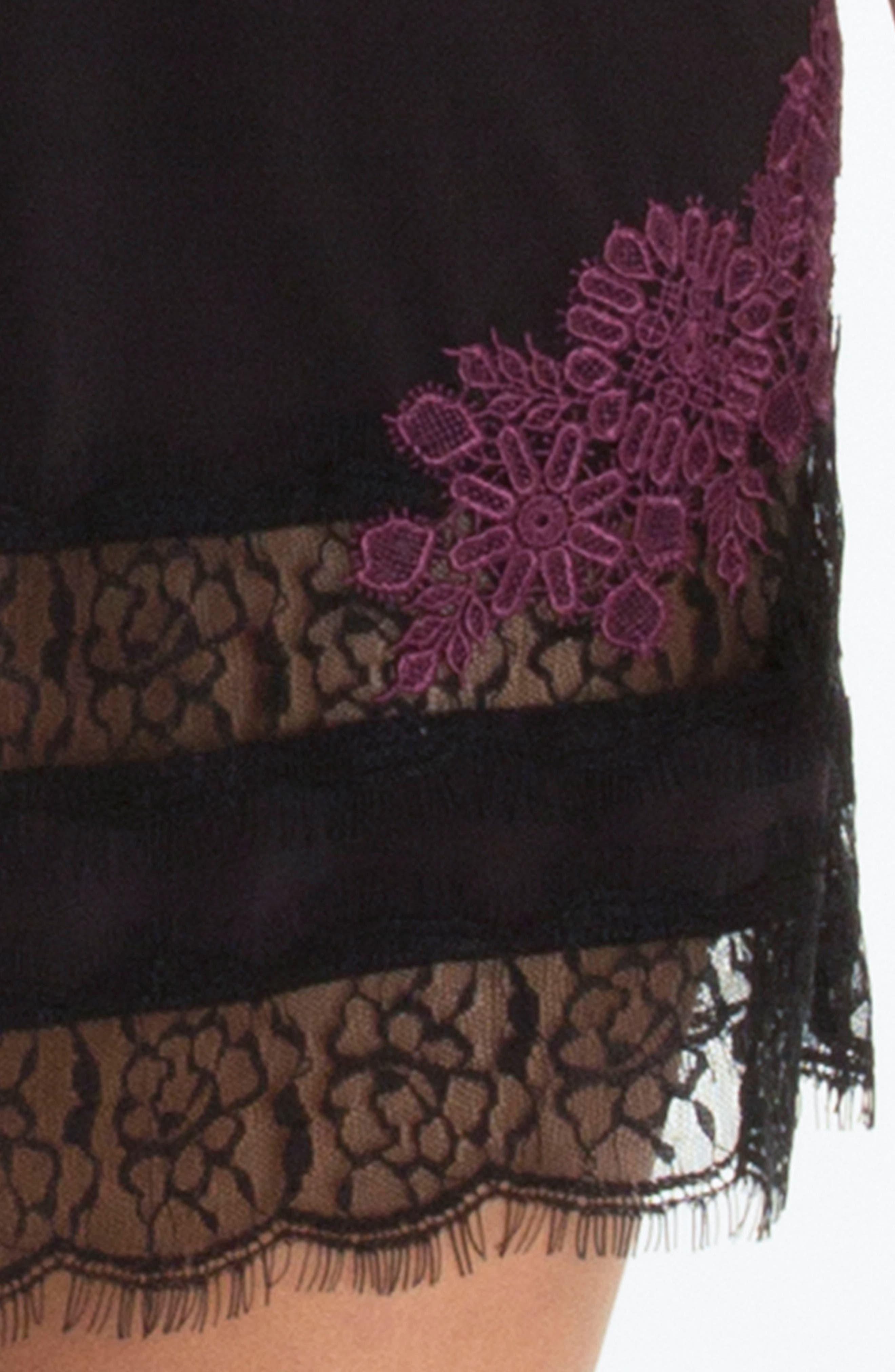 Lace Trim Knit Chemise,                             Alternate thumbnail 6, color,                             Black