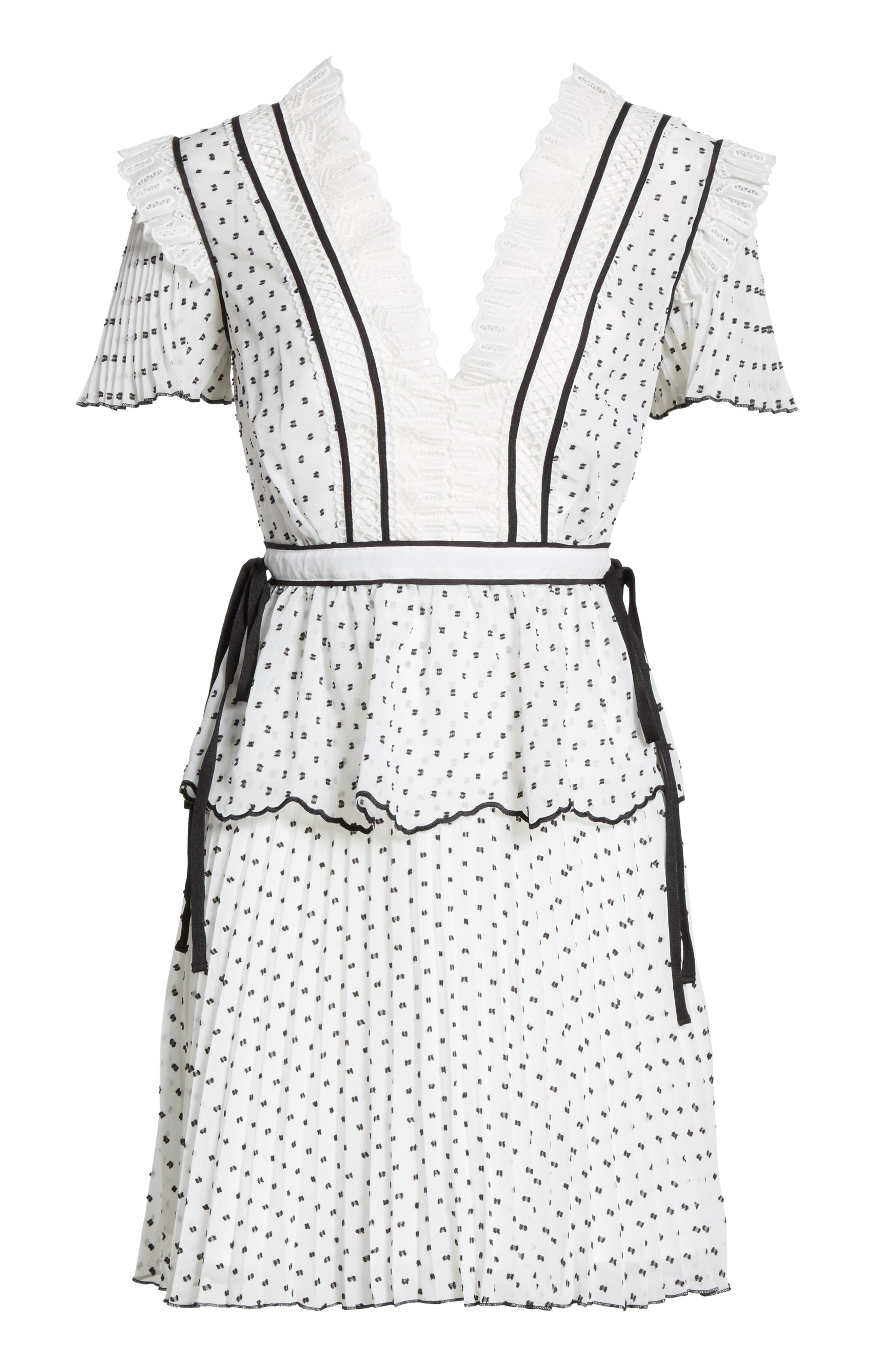 Pleated Plumetis Dress,                             Alternate thumbnail 6, color,                             White