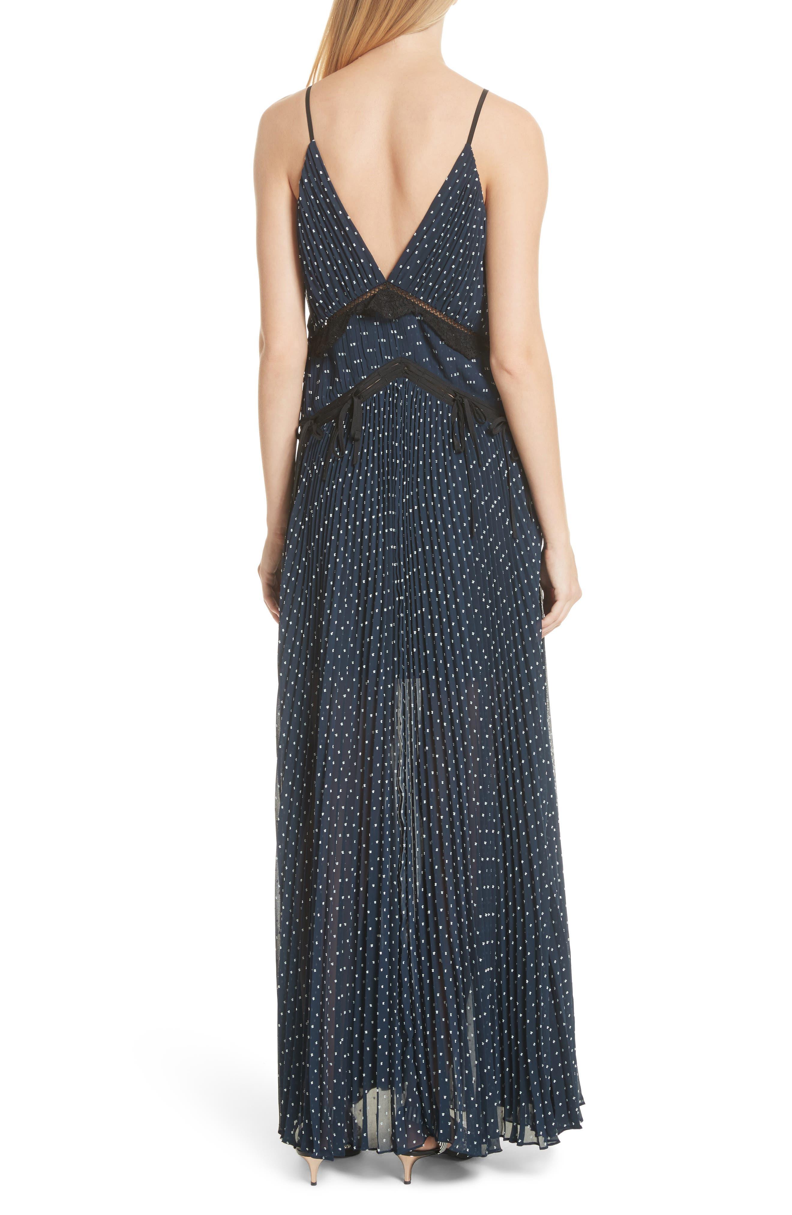 Plumetis Maxi Dress,                             Alternate thumbnail 2, color,                             Navy