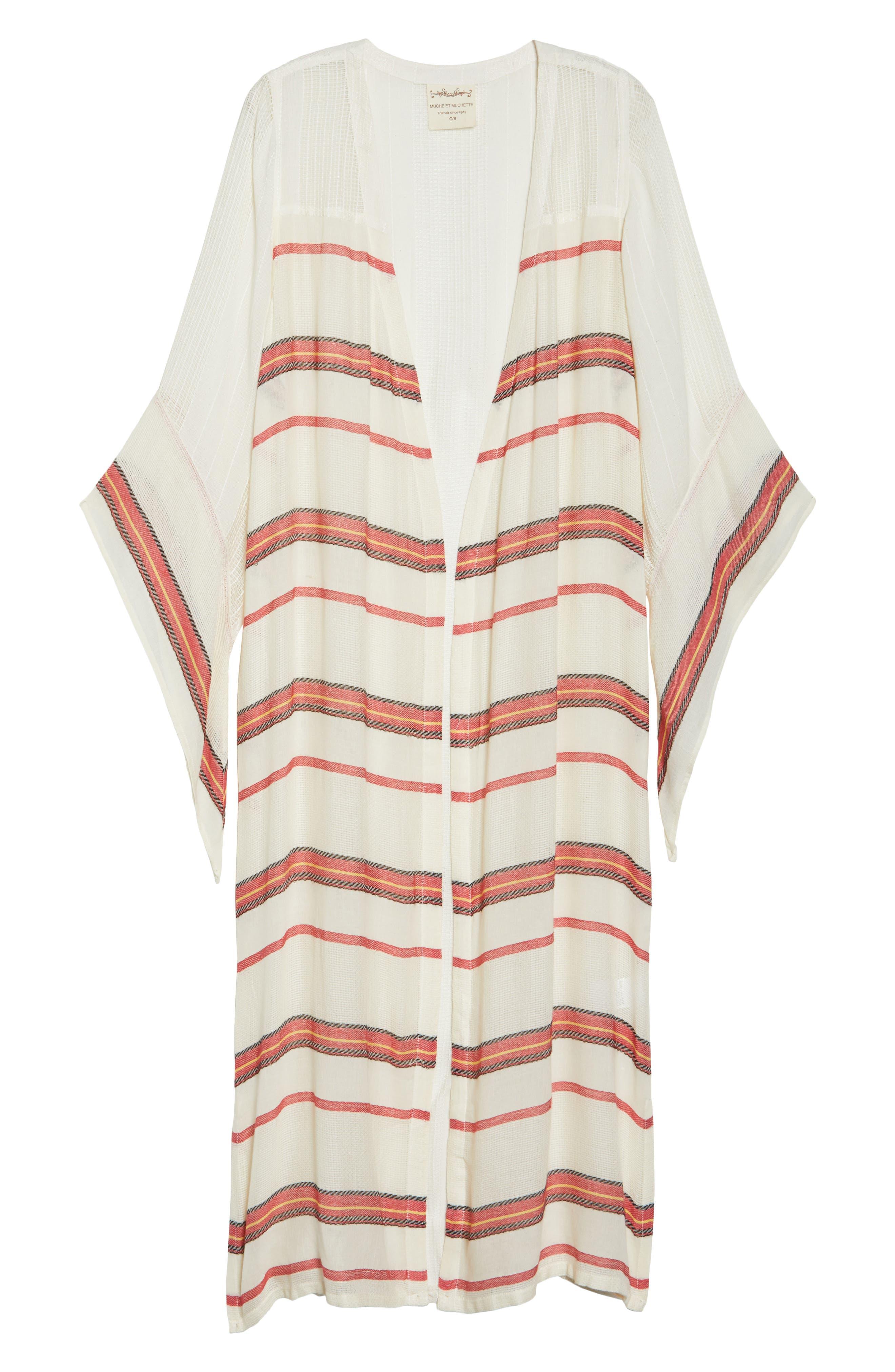 Paradise Cover-Up Kimono,                             Alternate thumbnail 6, color,                             Natural Stripe