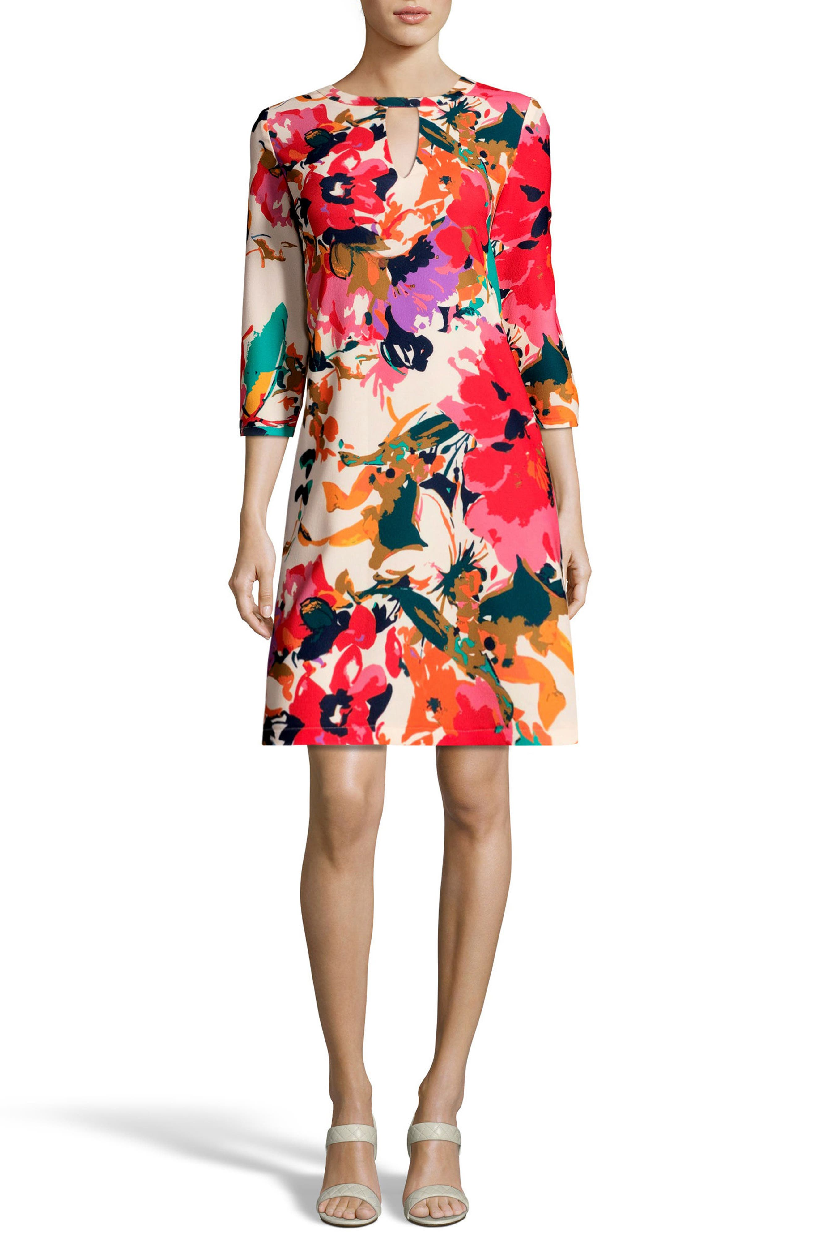 Print Trapeze Dress,                         Main,                         color, Ivory/ Red