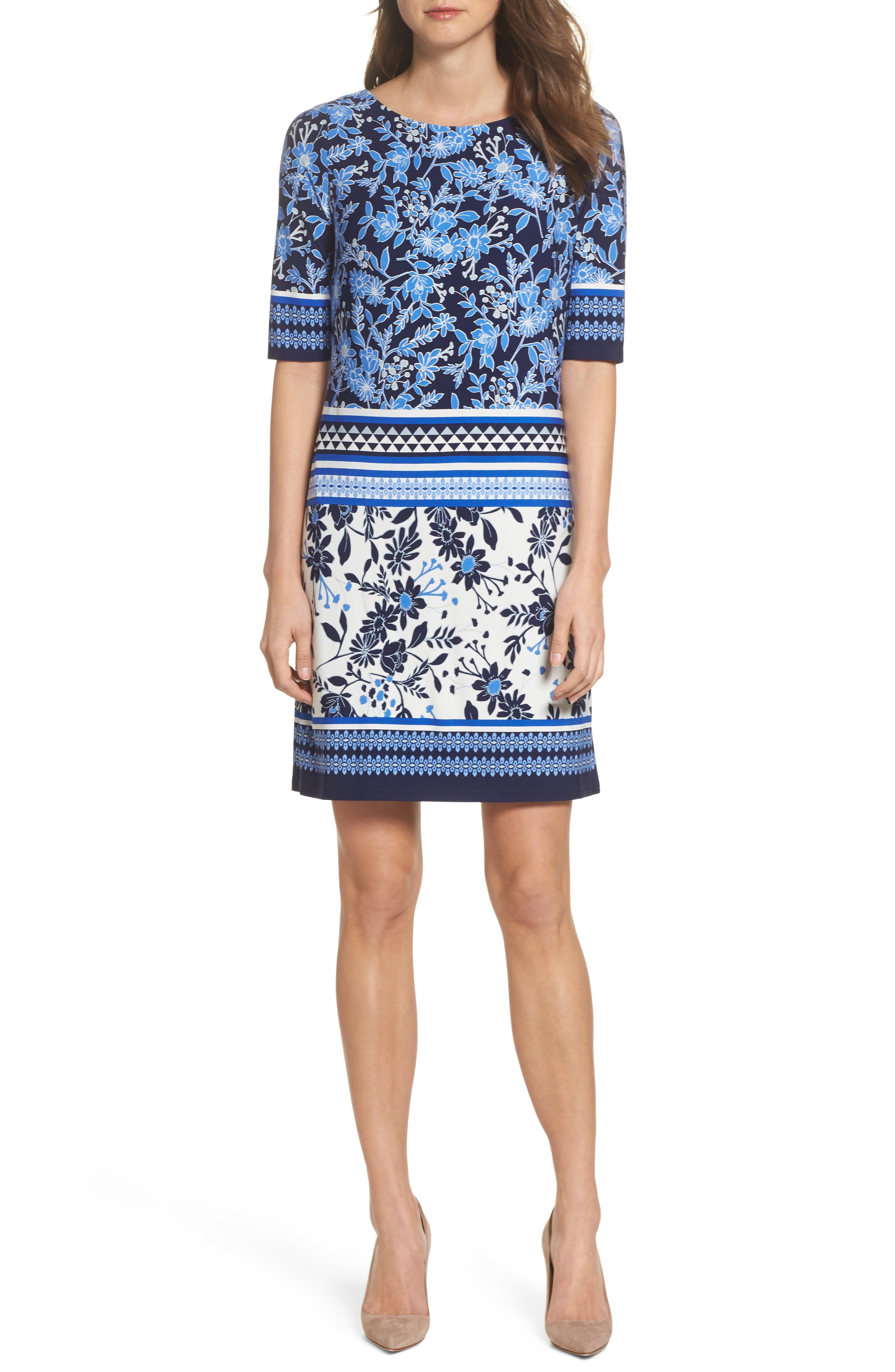 Print Shift Dress,                         Main,                         color, Blue/ Ivory