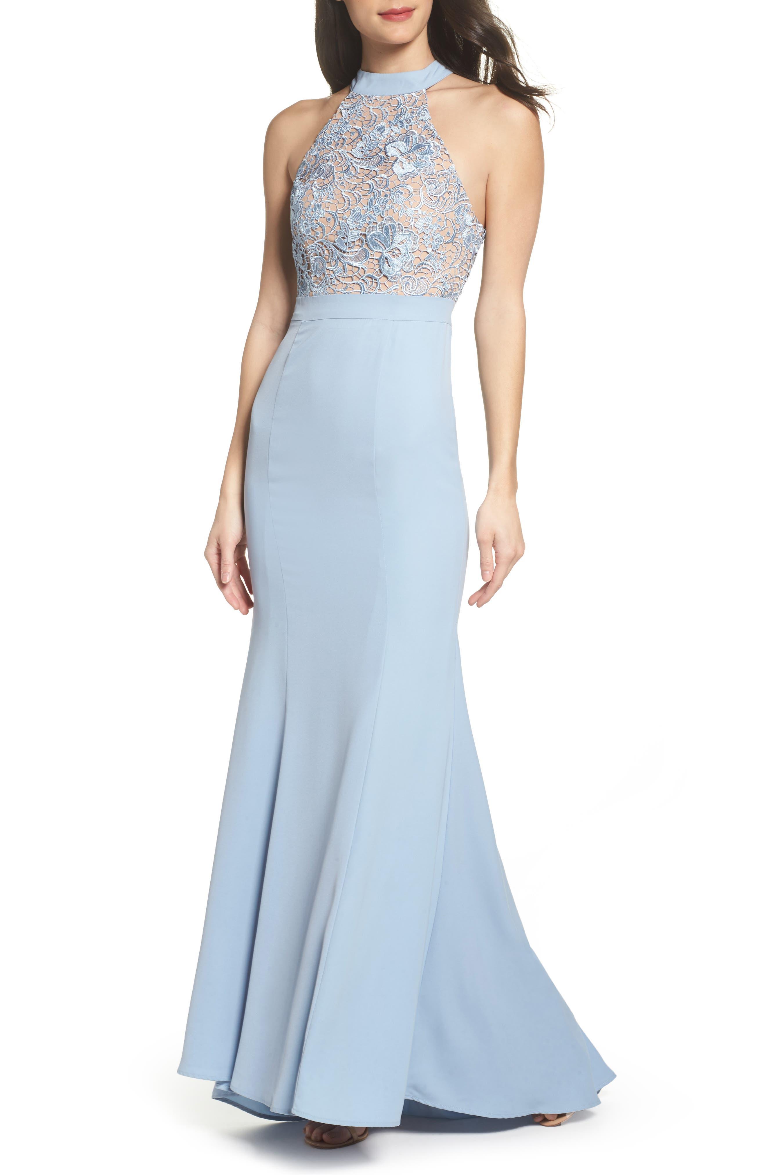 Caden Lace Detail Trumpet Gown,                             Main thumbnail 1, color,                             Light Blue